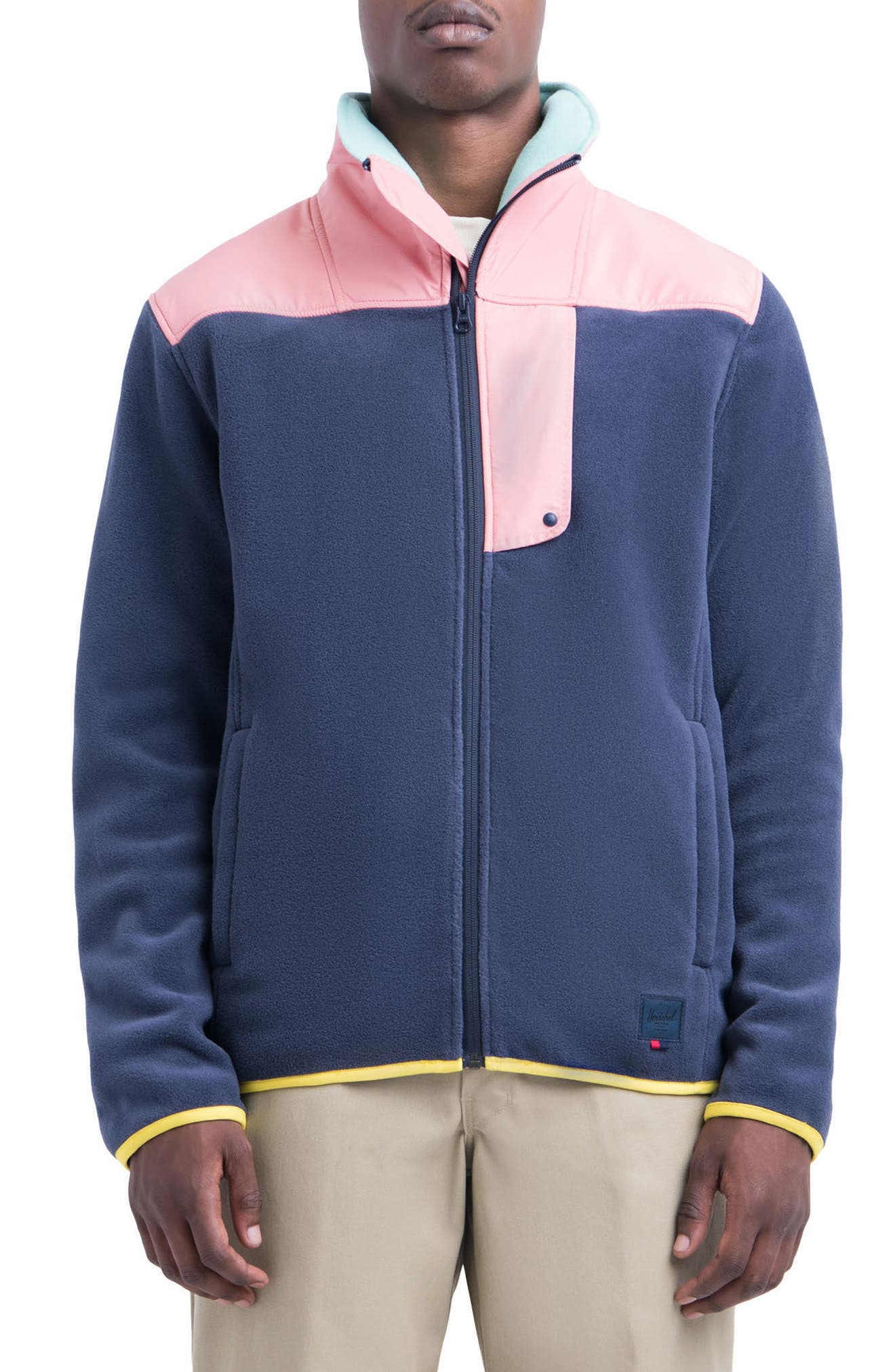 Fleece Zip-Up,                             Main thumbnail 1, color,                             Peacoat/ Strawberry Ice/ Green