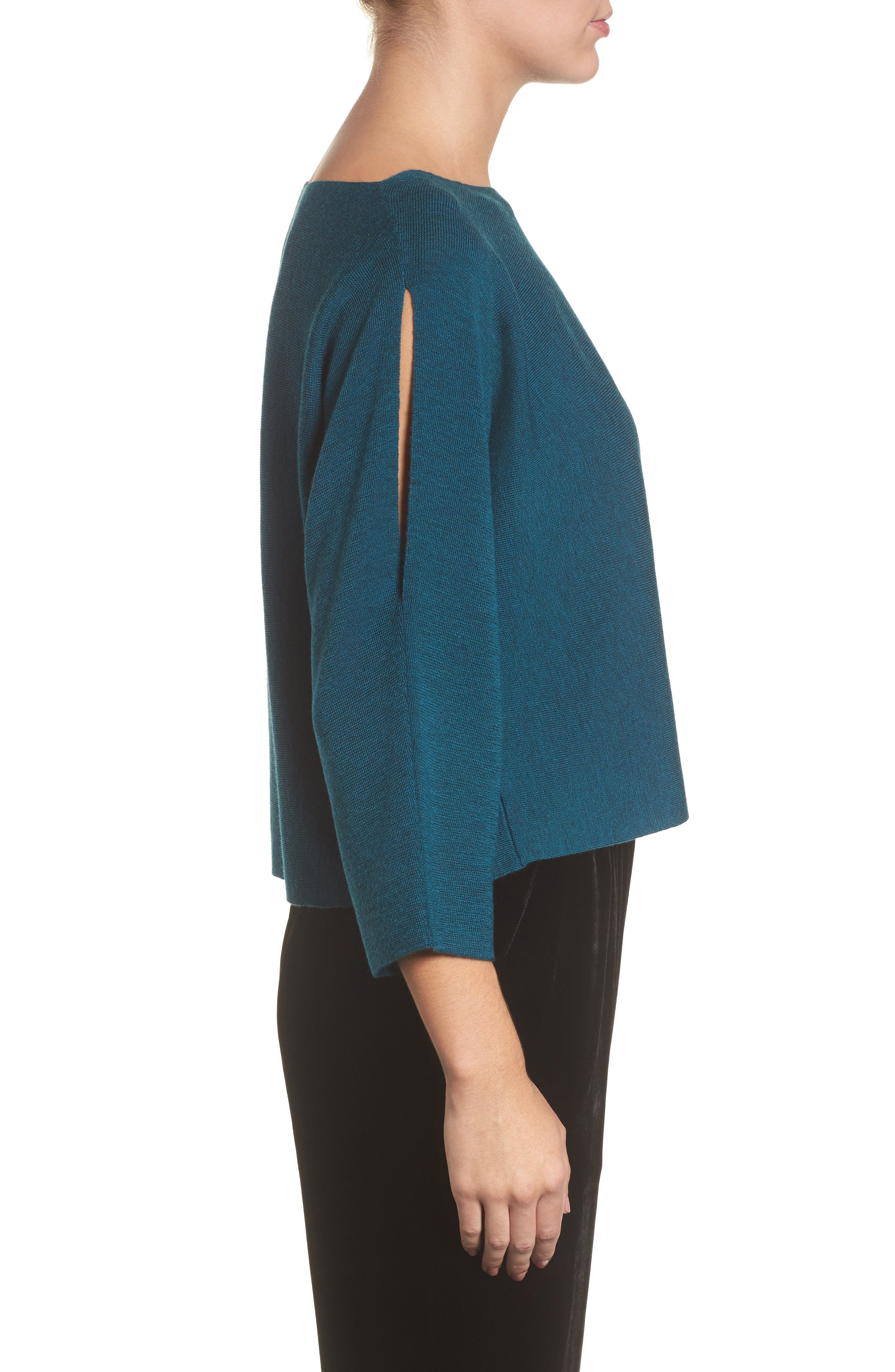 Alternate Image 3  - Eileen Fisher Crop Merino Wool Sweater