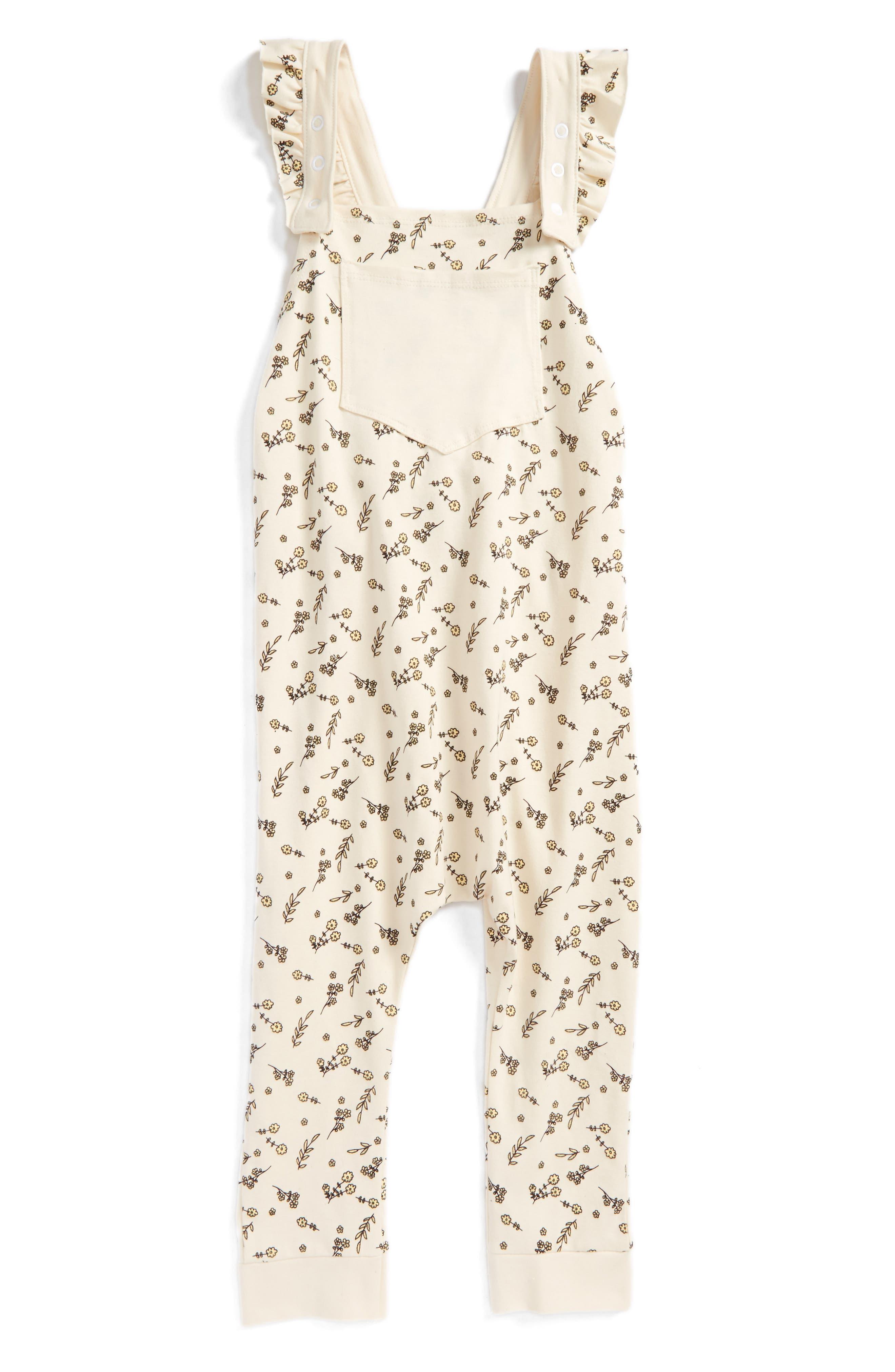 Florette Jersey Overalls,                             Main thumbnail 1, color,                             Ivory Floral