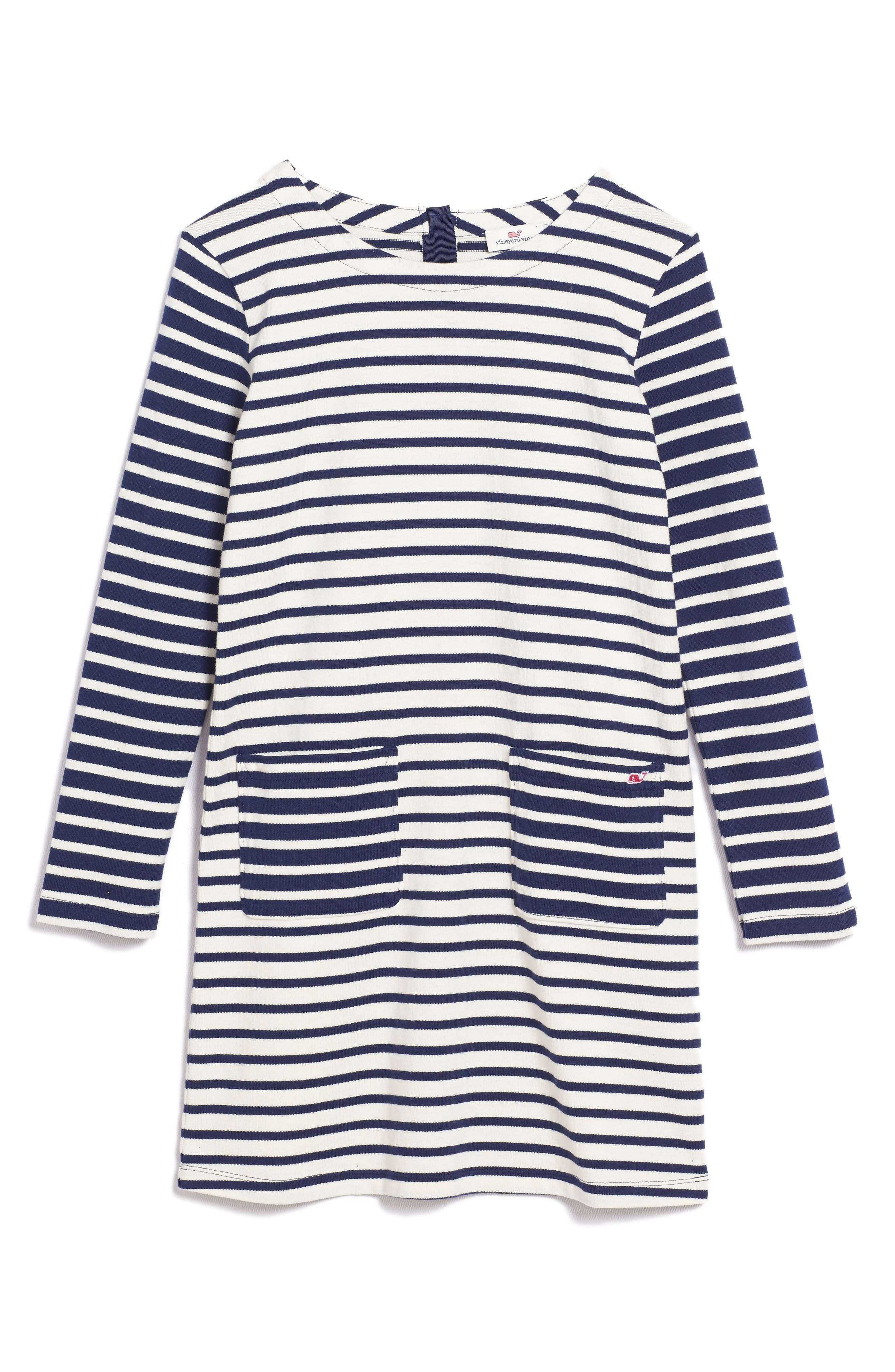 Alternate Image 1 Selected - vineyard vines Stripe Knit Dress (Little Girls & Big Girls)