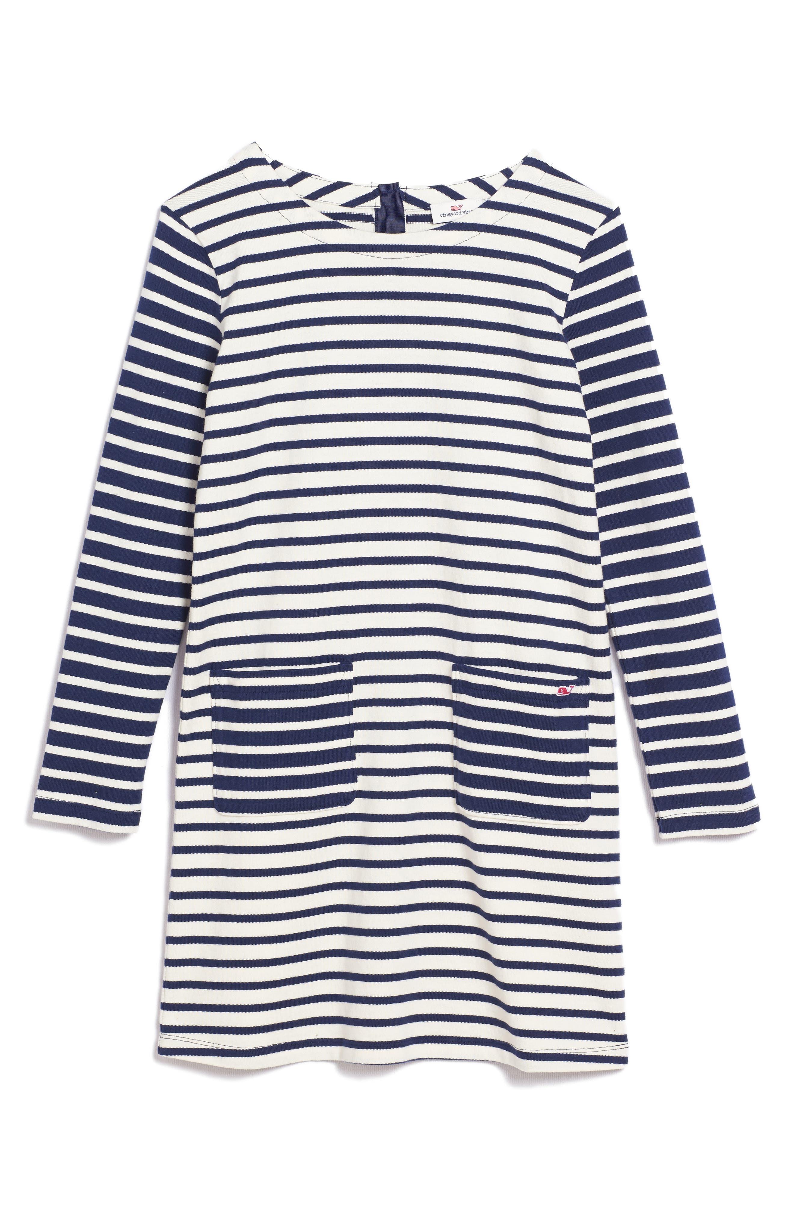Stripe Knit Dress,                         Main,                         color, Deep Bay
