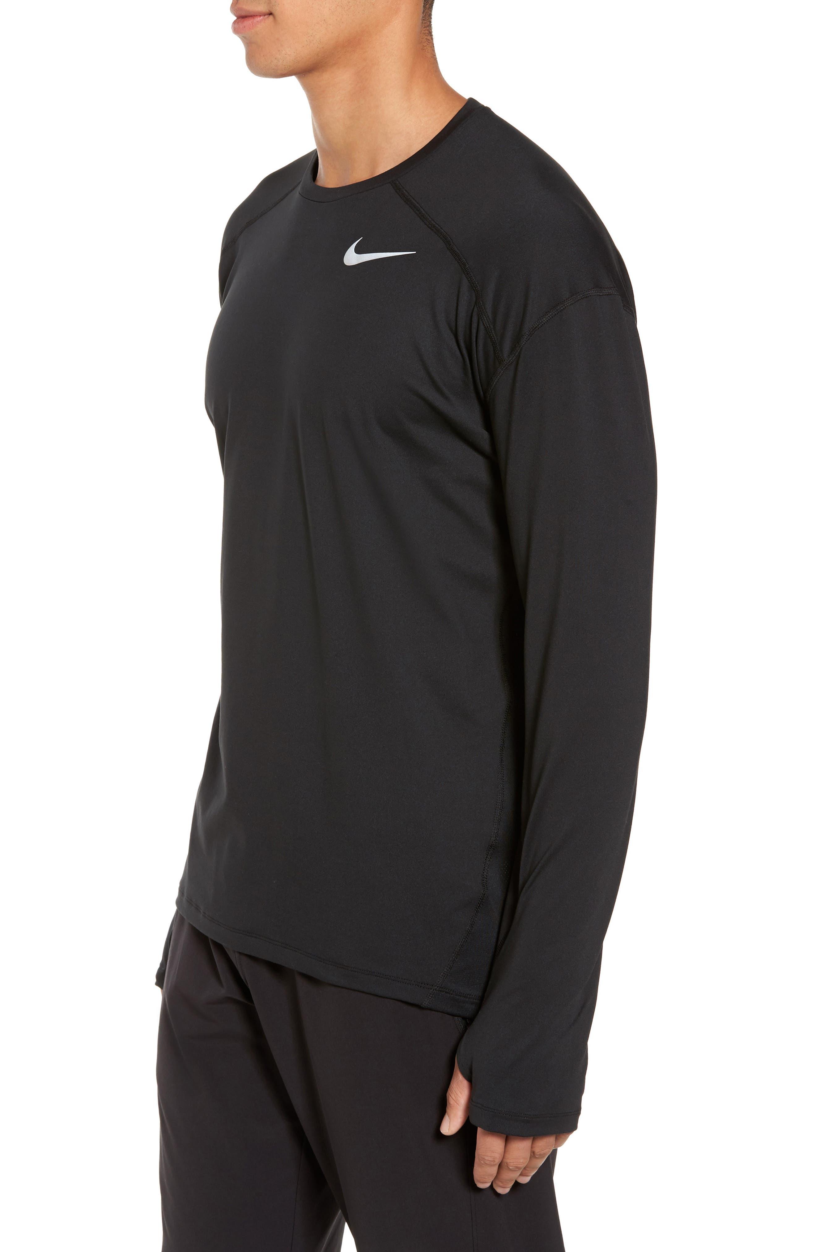 Running Dry Element Long Sleeve T-Shirt,                             Alternate thumbnail 3, color,                             Black