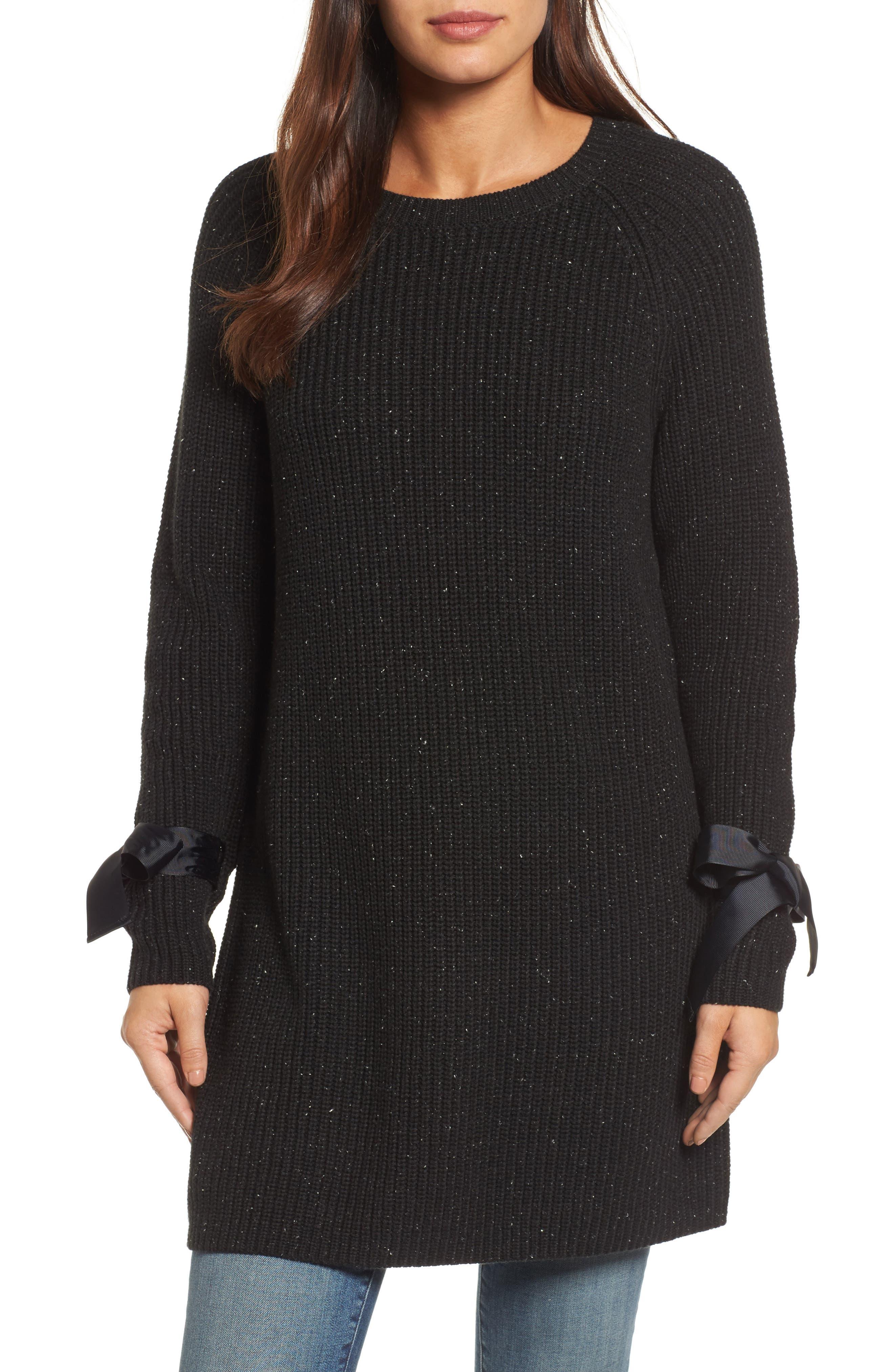 Bow Sleeve Tunic,                             Main thumbnail 1, color,                             Black Nep Pattern