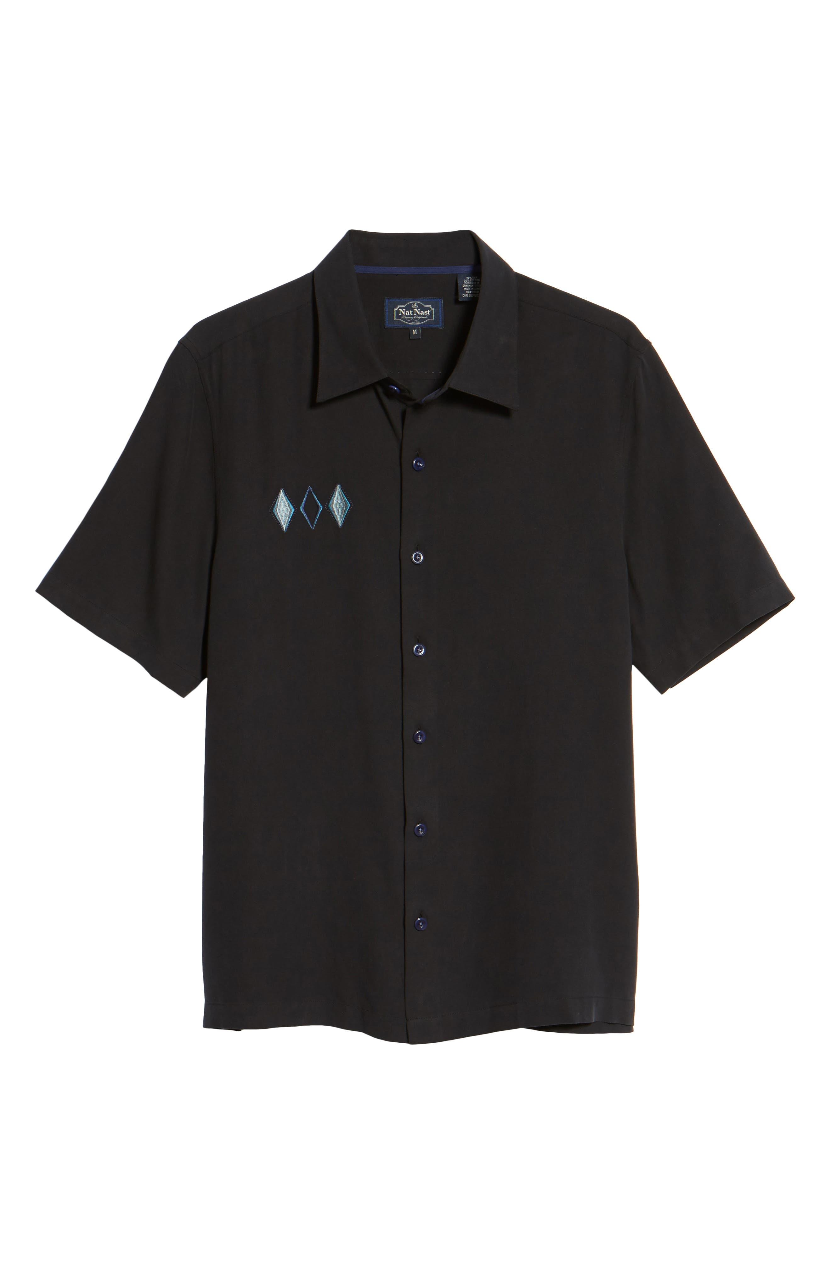 Black Diamond Regular Fit Embroidered Silk Blend Sport Shirt,                             Alternate thumbnail 6, color,                             Black