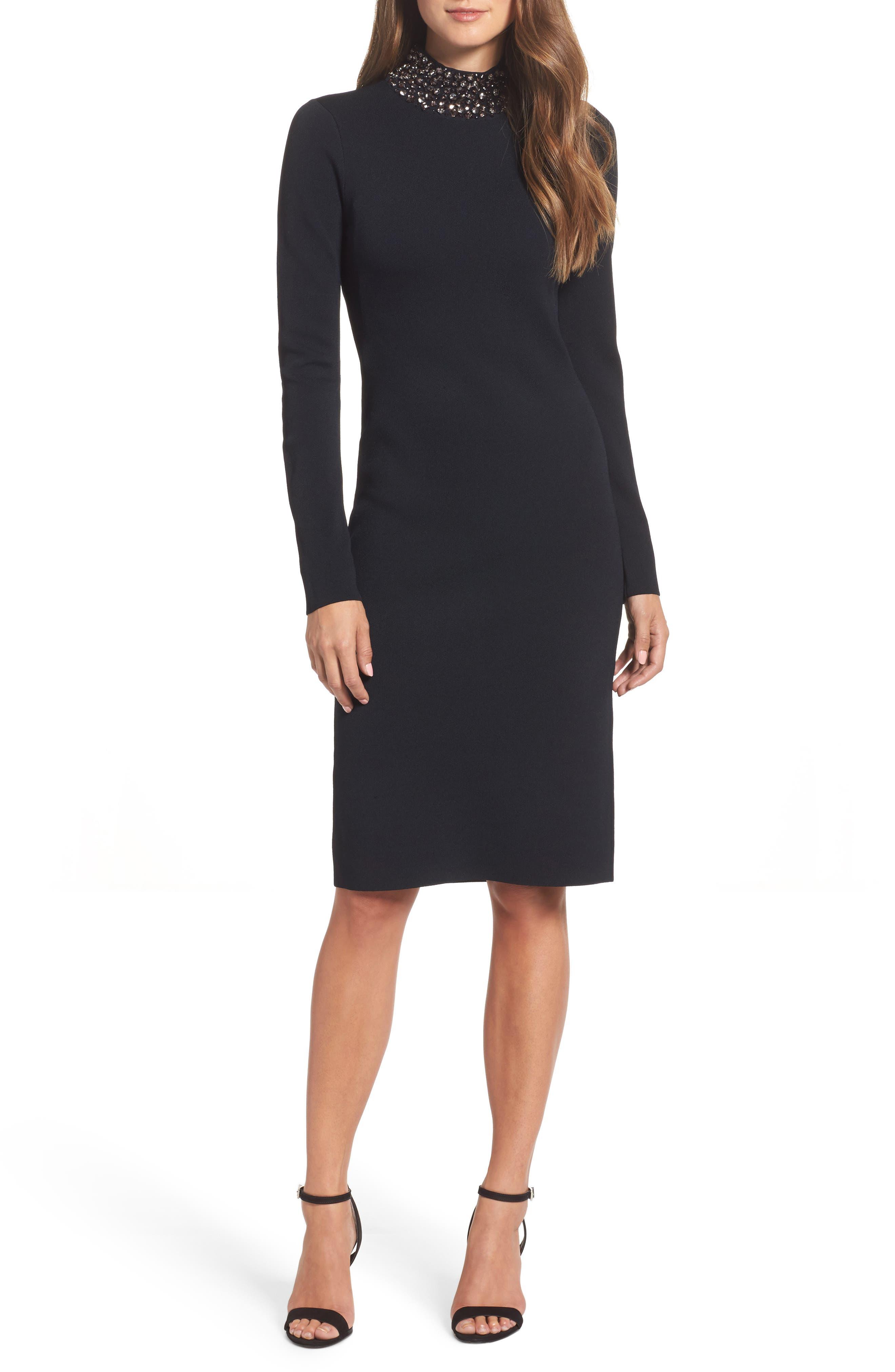 Jeweled Sheath Dress,                             Main thumbnail 1, color,                             Black