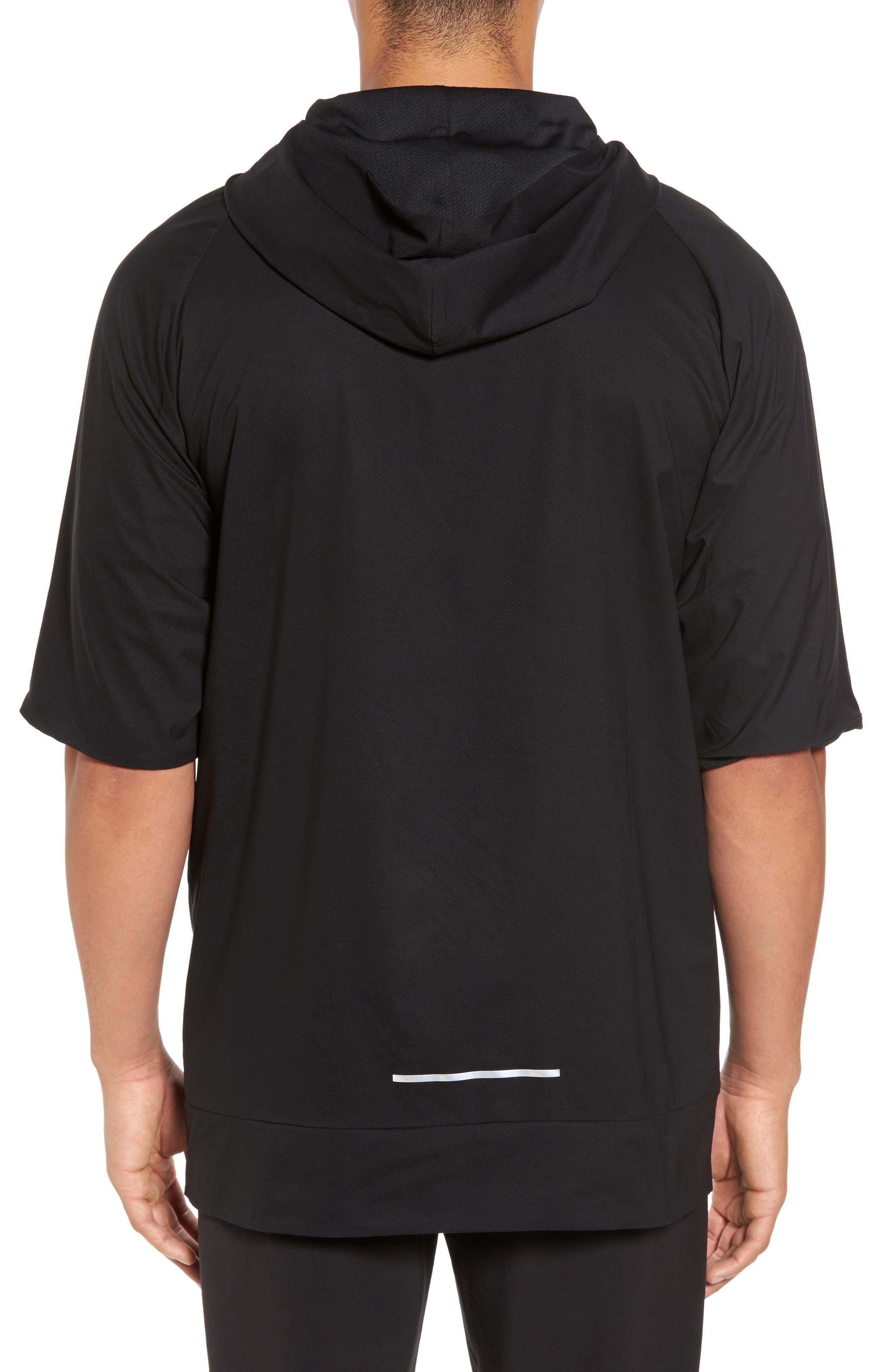Runnning Flex Short Sleeve Anorak,                             Alternate thumbnail 2, color,                             Black