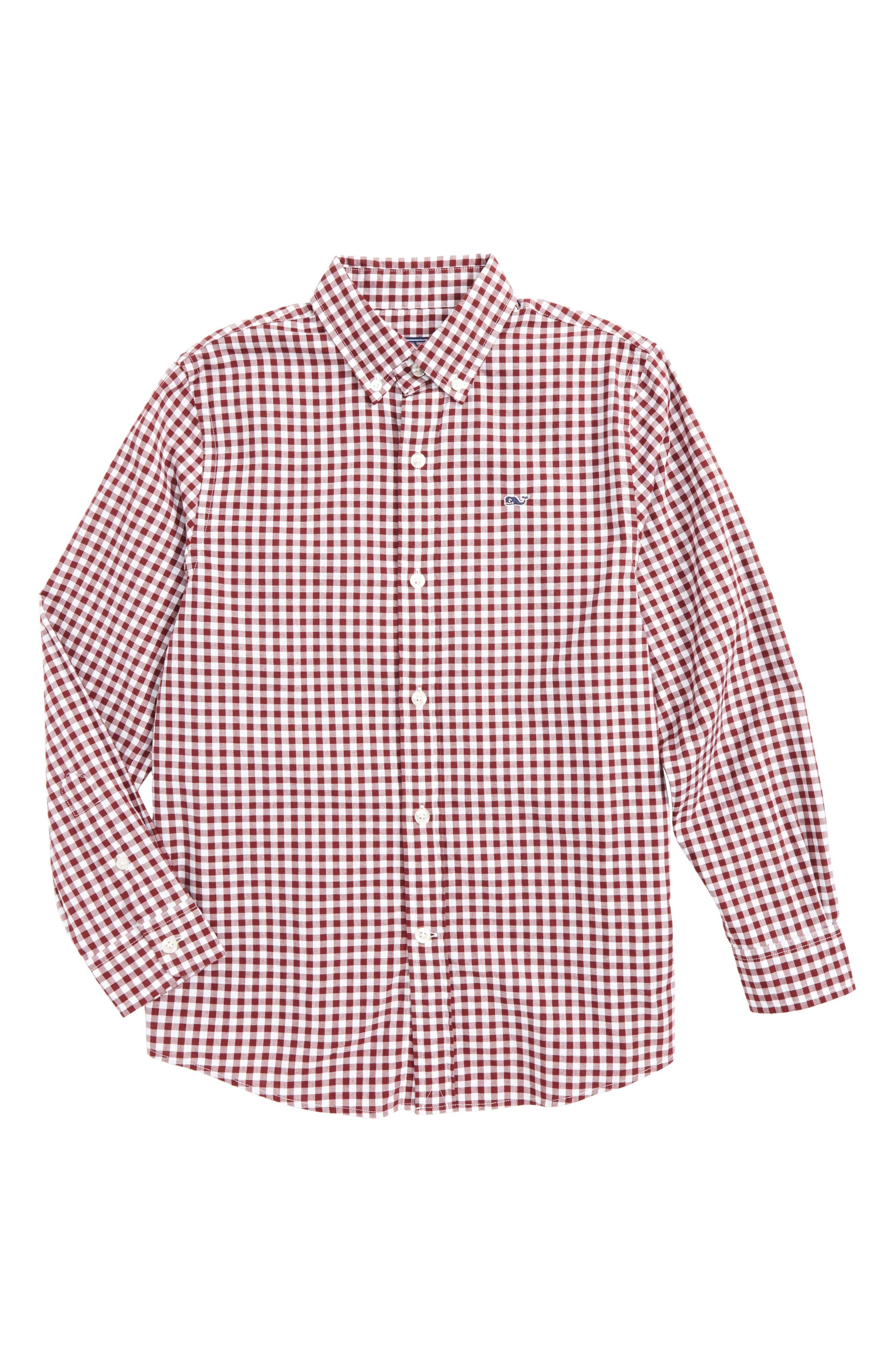 Garden Quarter Gingham Whale Shirt,                             Main thumbnail 1, color,                             Crimson