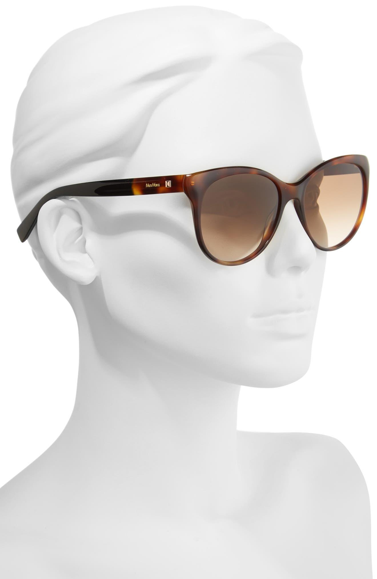 Cosy 56mm Gradient Cat Eye Sunglasses,                             Alternate thumbnail 2, color,                             Dark Havana