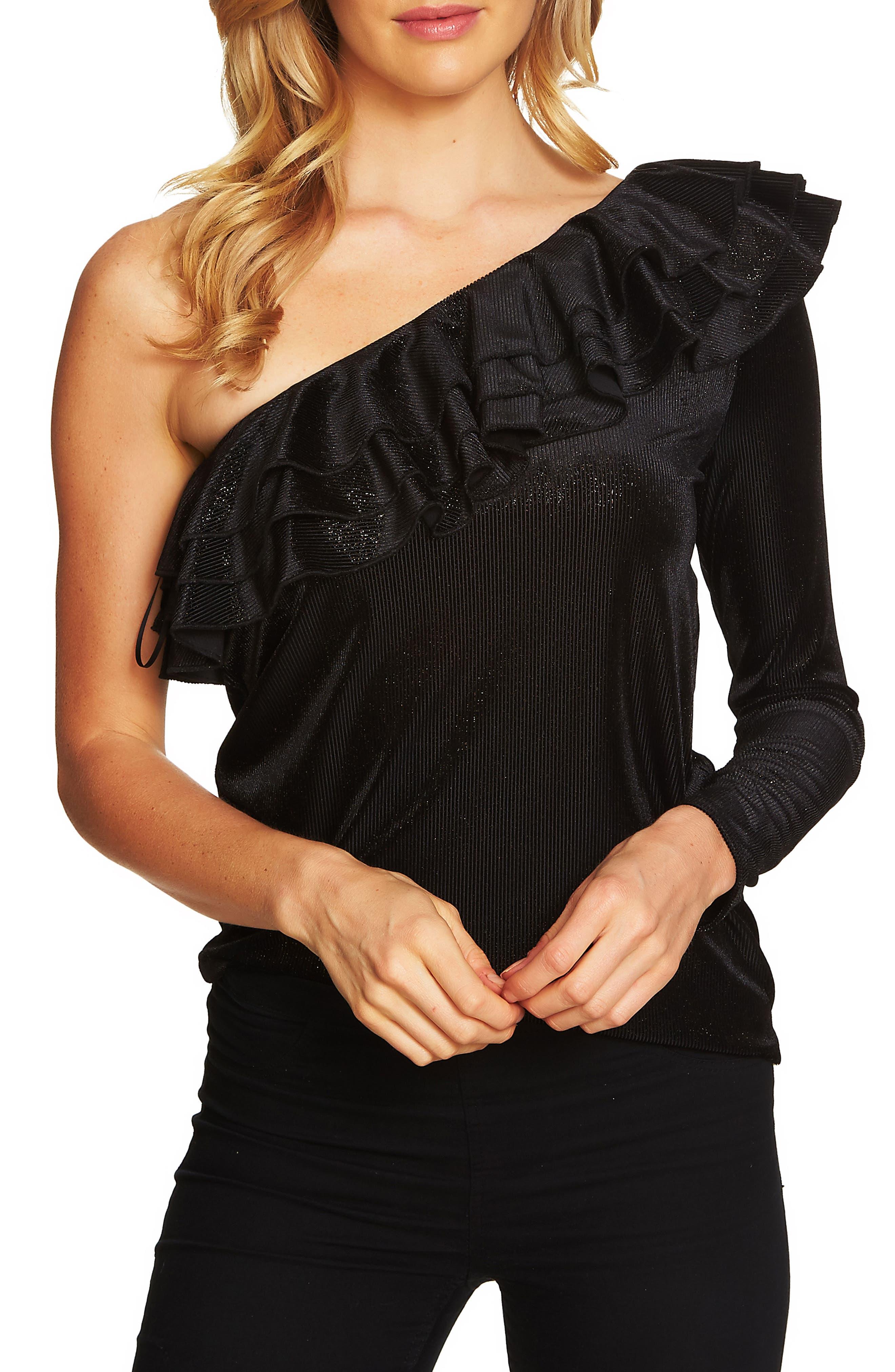 One Shoulder Ribbed Velvet Top,                         Main,                         color, Rich Black