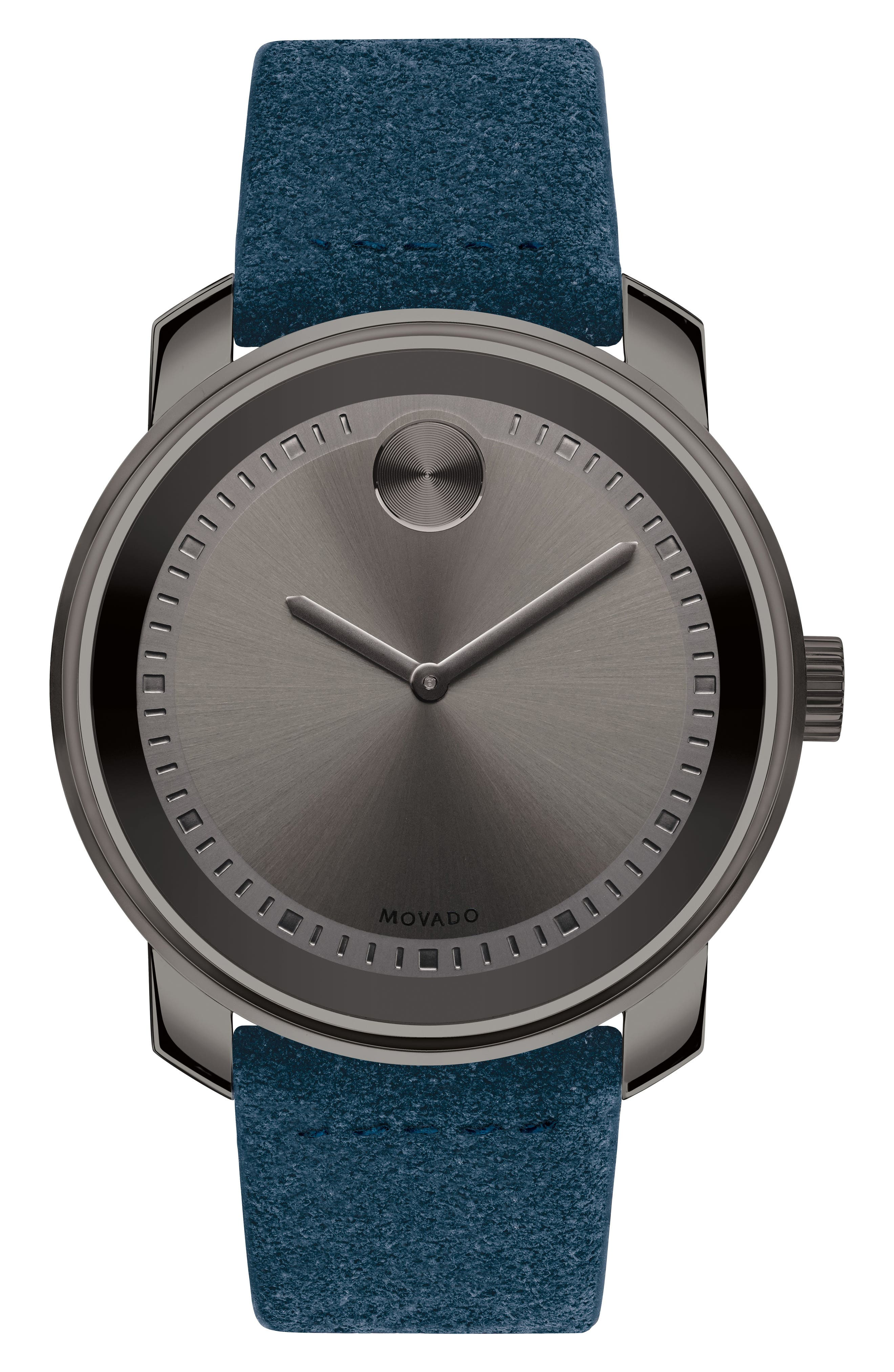 Bold Suede Strap Watch, 42mm,                         Main,                         color, Blue/ Grey