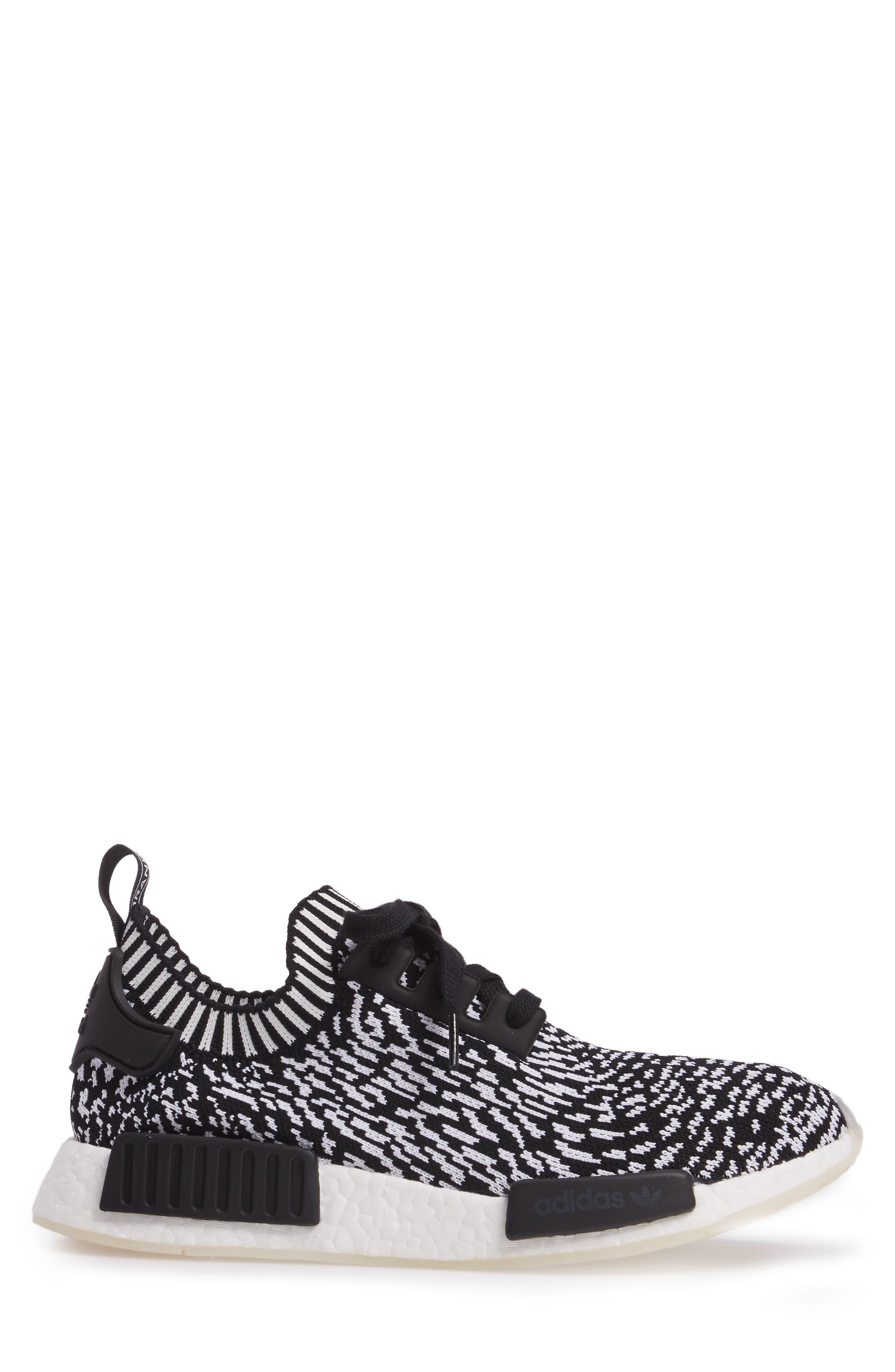 NMD R1 Primeknit Sneaker,                             Alternate thumbnail 3, color,                             Core Black/ Core Black/ White