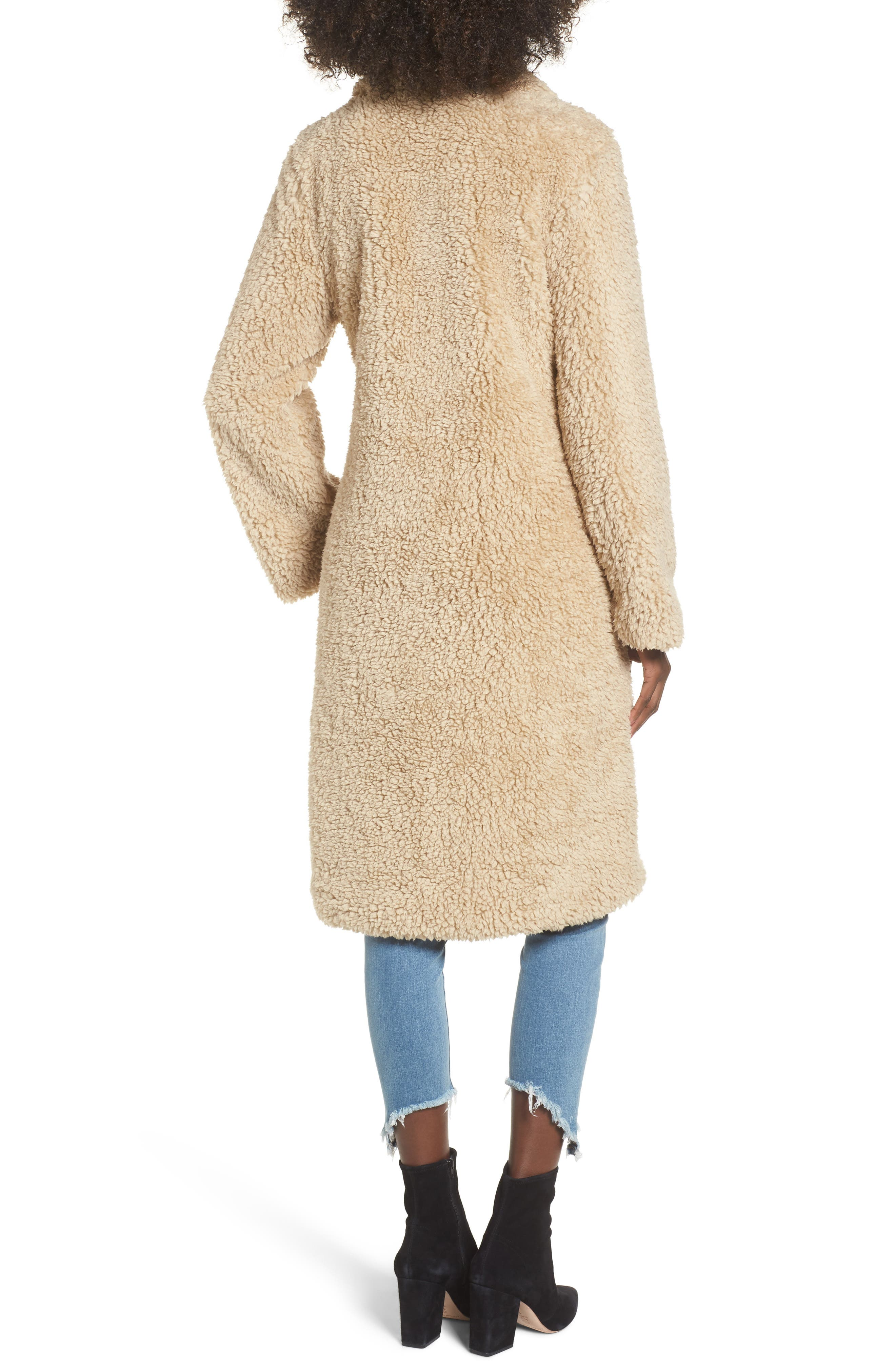Violet Teddy Bear Coat,                             Alternate thumbnail 2, color,                             Beige