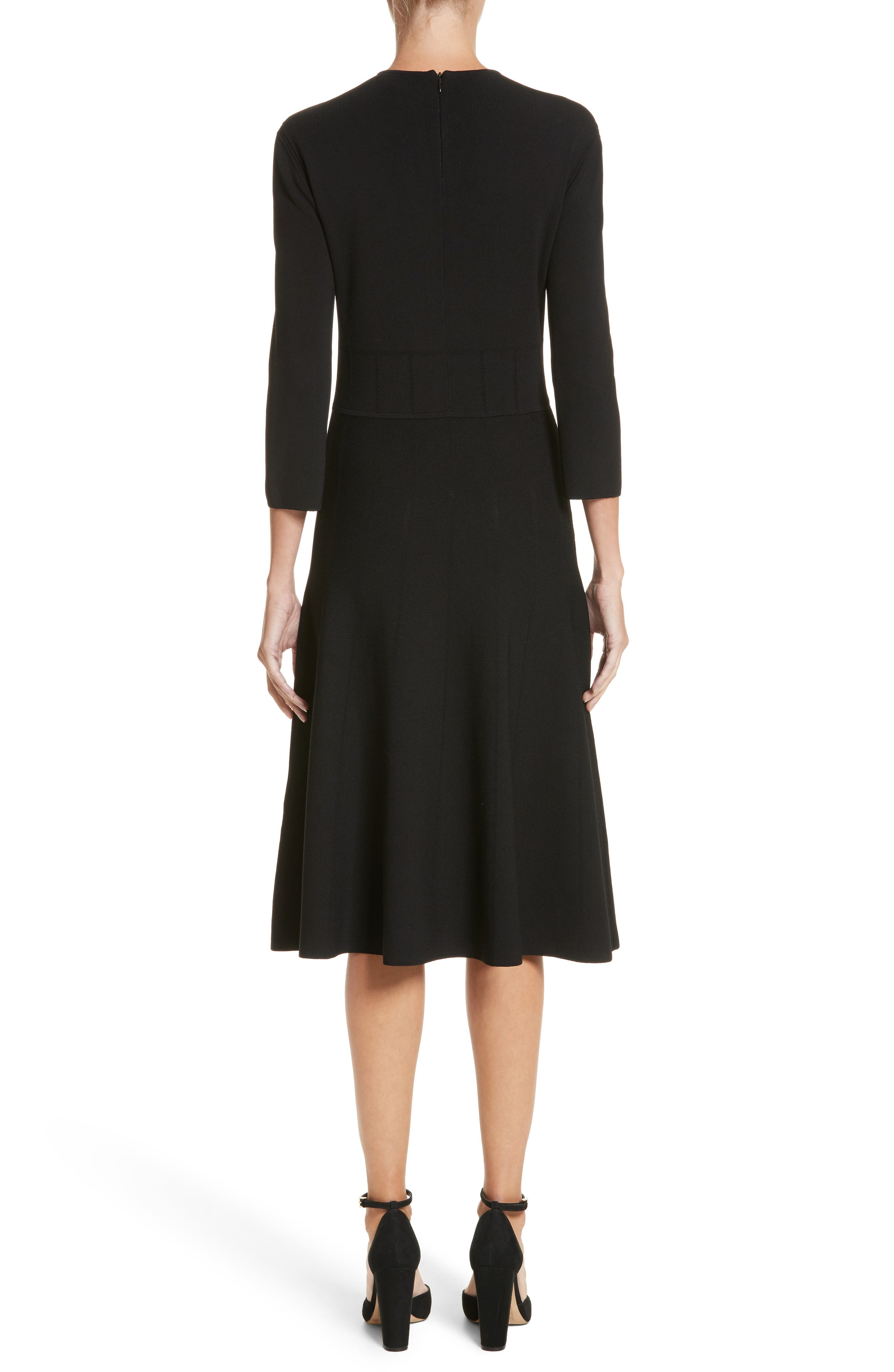 High Neck Fit & Flare Dress,                             Alternate thumbnail 2, color,                             Black