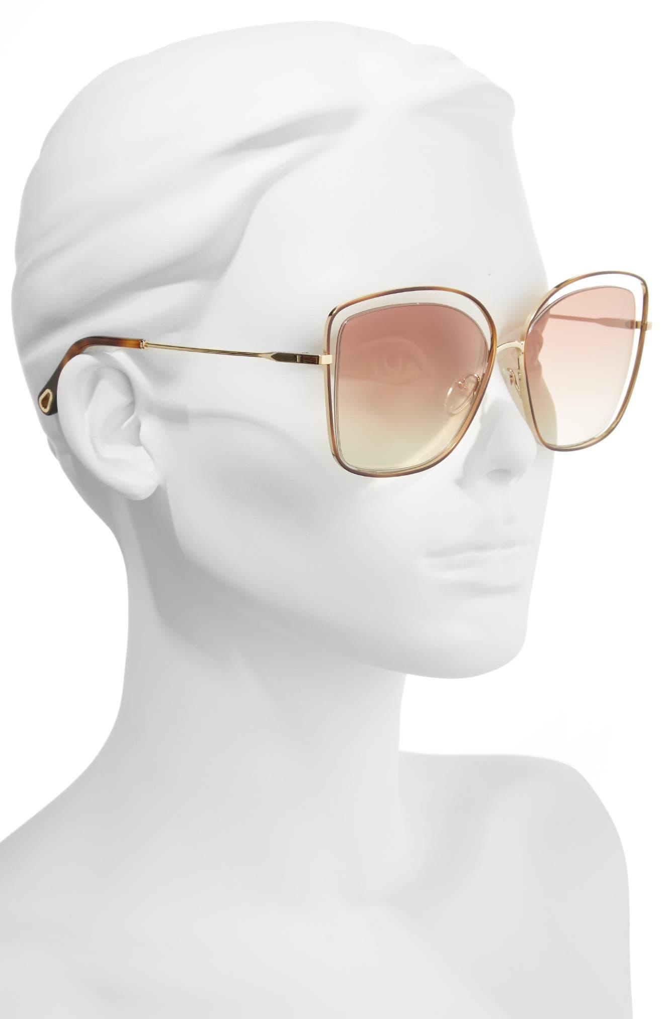 60mm Halo Frame Sunglasses,                             Alternate thumbnail 2, color,                             Havana/ Bronze