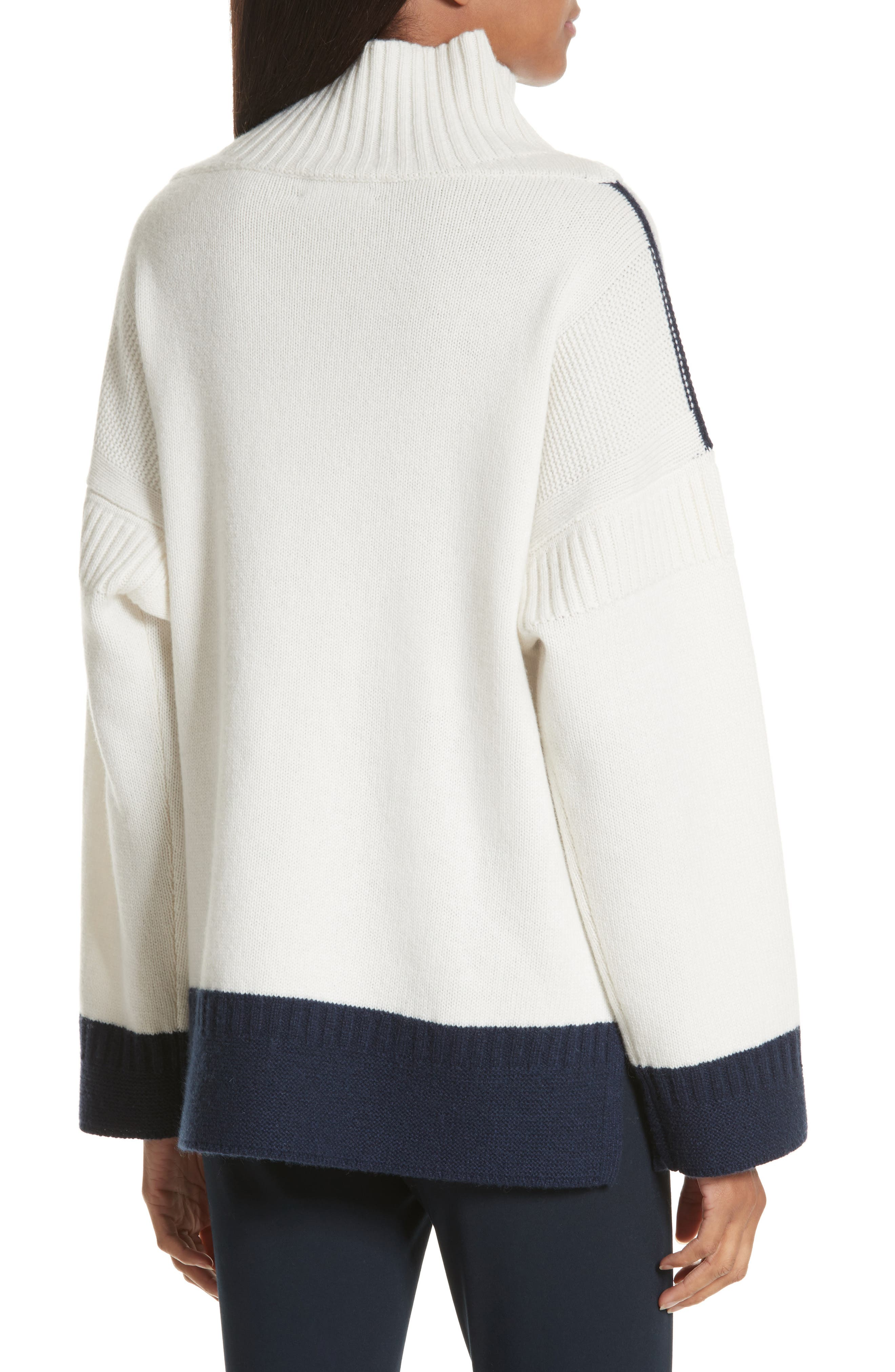 Aubree Funnel Neck Cashmere Sweater,                             Alternate thumbnail 2, color,                             Ivory/Navy