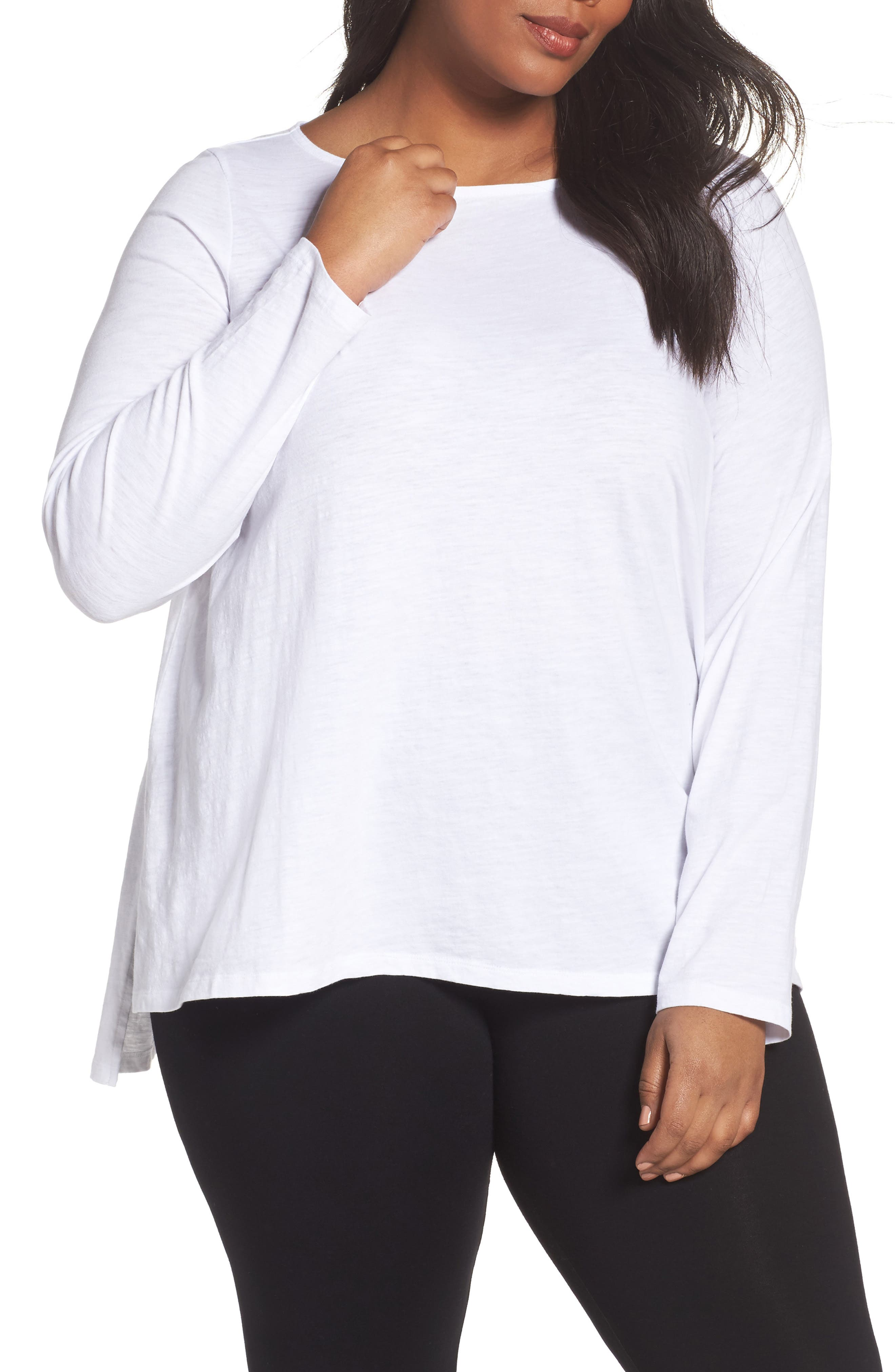 Eileen Fisher Organic Cotton Jersey Top (Plus Size)