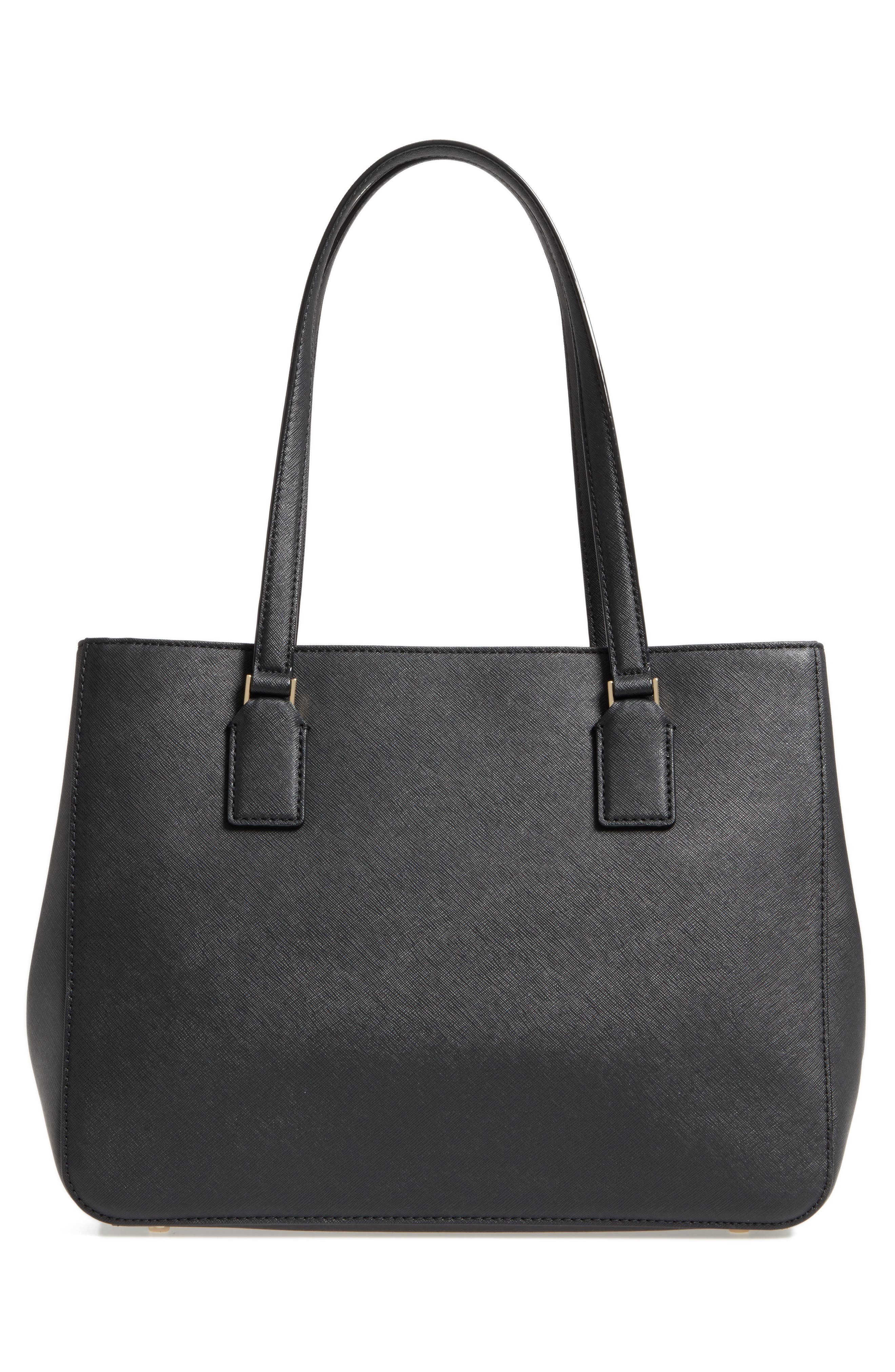 cameron street - zooey leather tote,                             Alternate thumbnail 3, color,                             Black