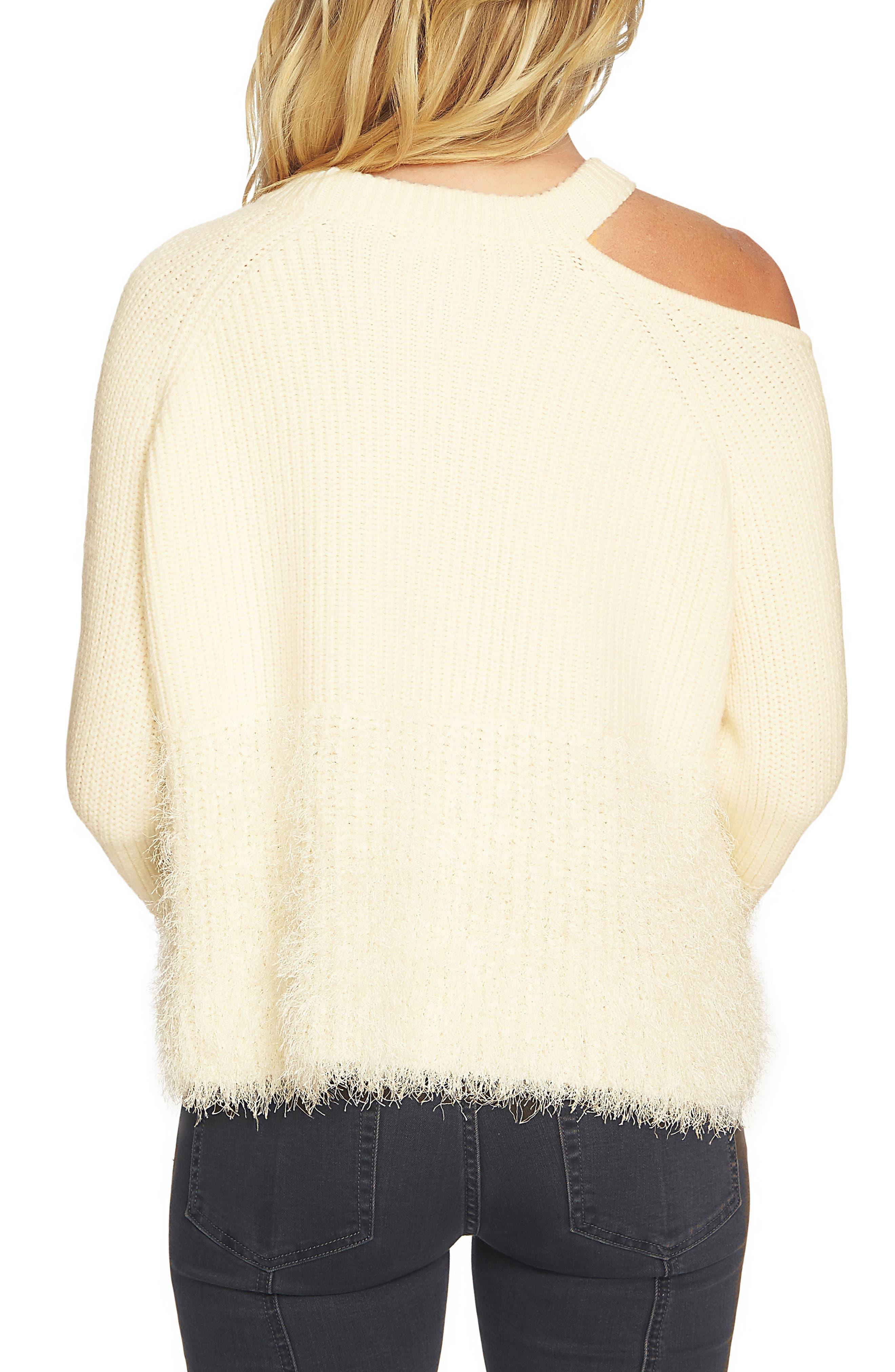 Eyelash Fringe Cutout Sweater,                             Alternate thumbnail 2, color,                             Antique White