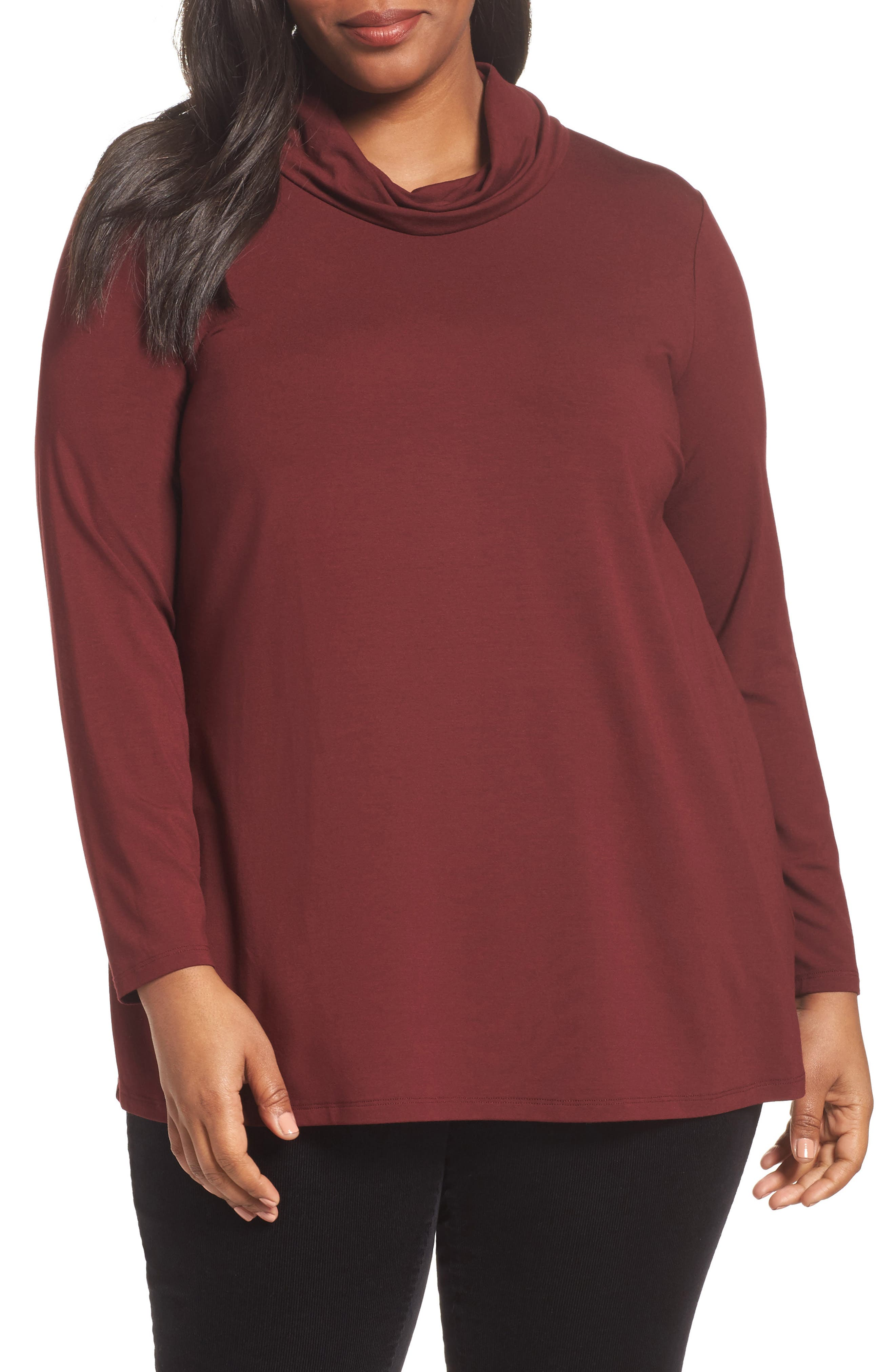 Turtleneck Jersey Top,                         Main,                         color, Red