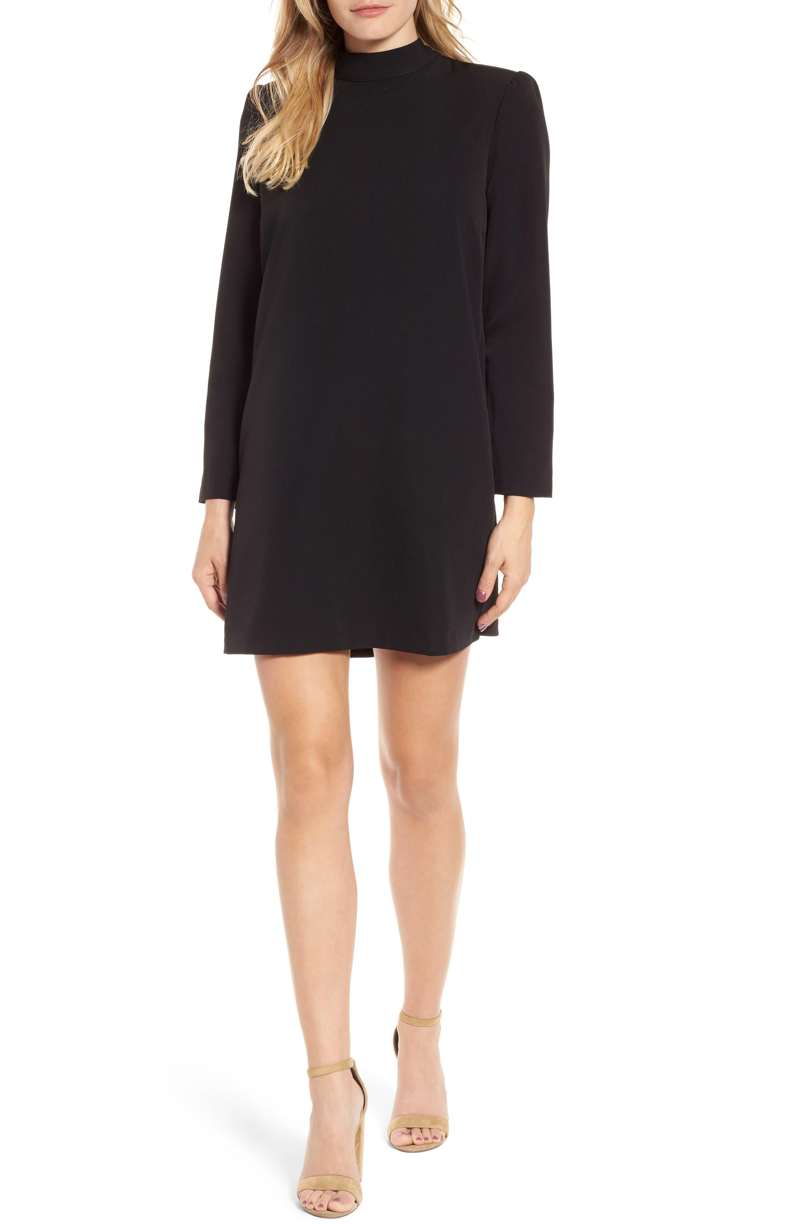 Halogen Bow Back Ponte Shift Dress,                         Main,                         color, Black