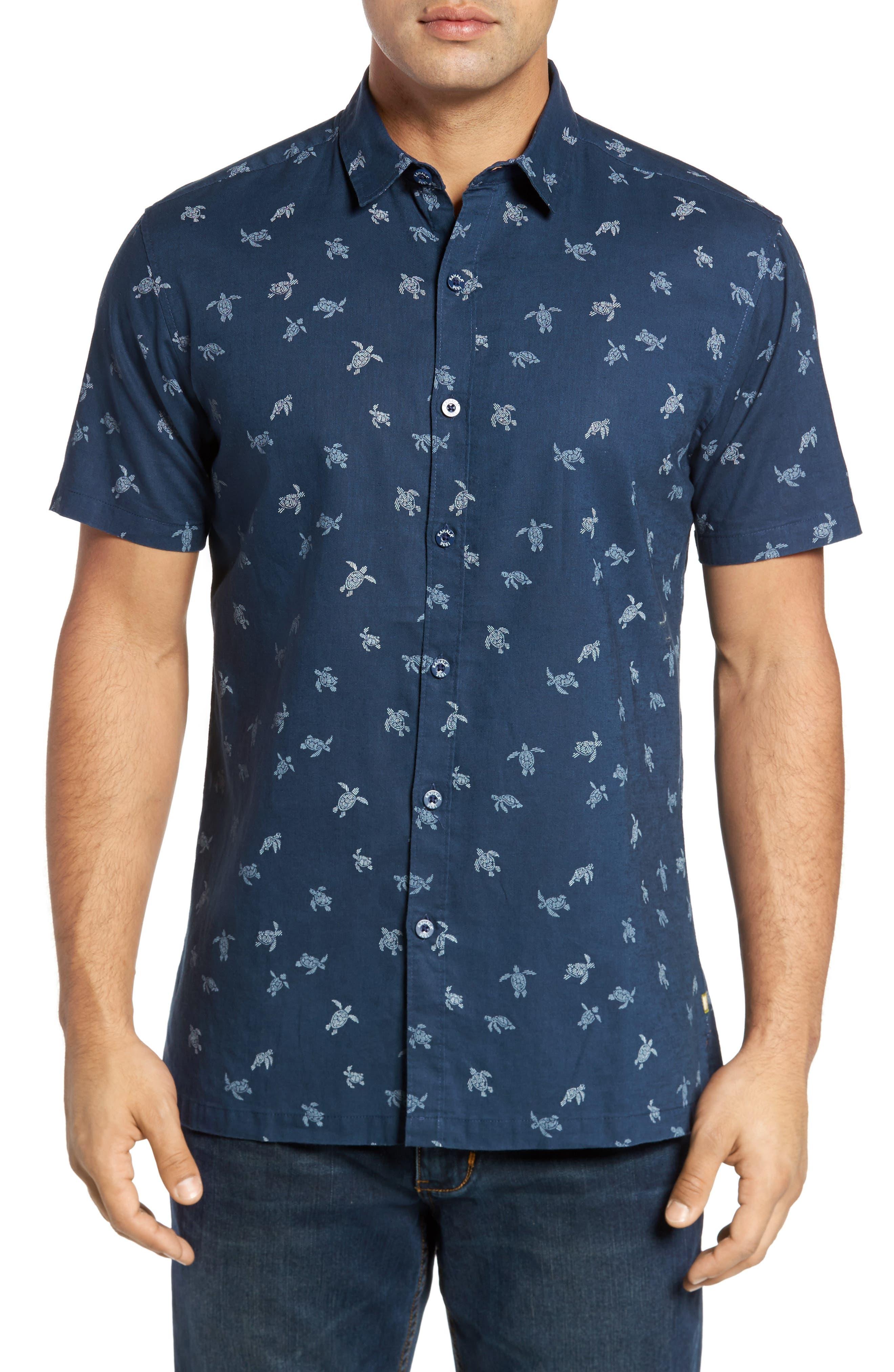 Honu La Hanai Trim Fit Print Sport Shirt,                         Main,                         color, Navy