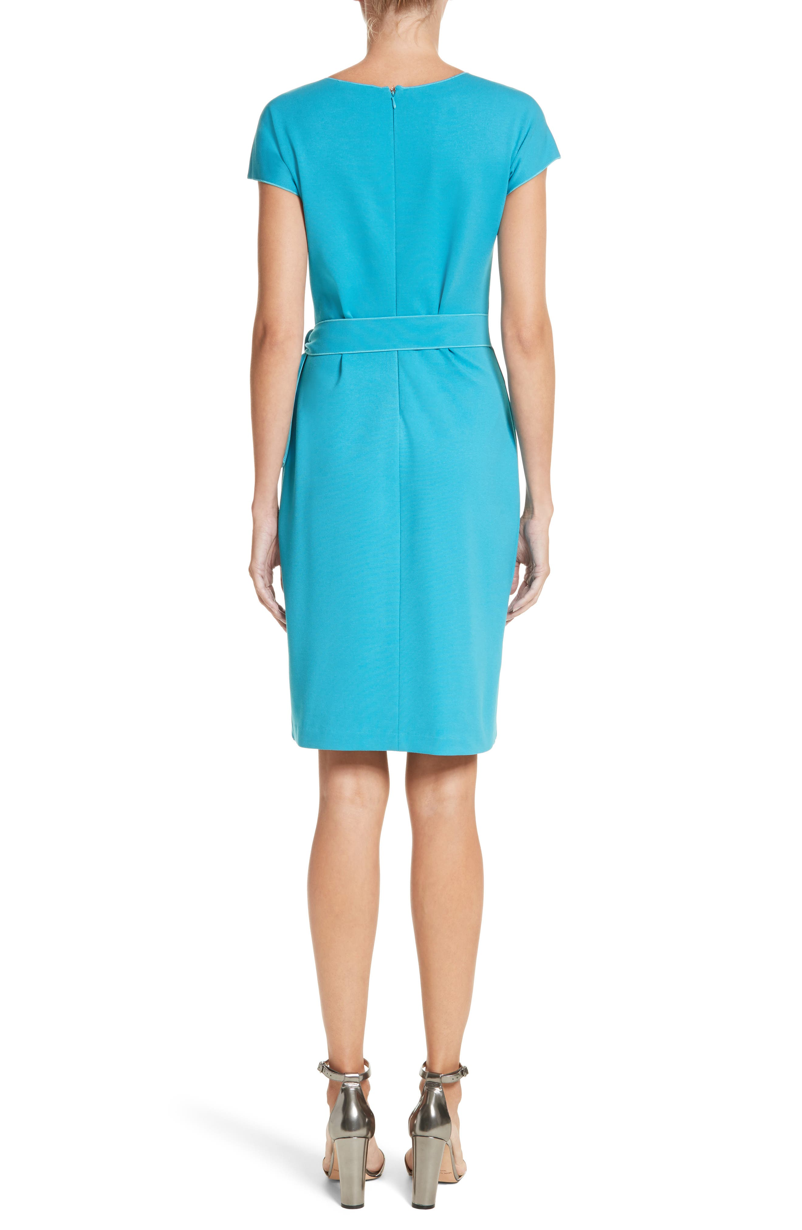 Knotted Wrap Skirt Dress,                             Alternate thumbnail 2, color,                             Solid Turquoise/ Aqua