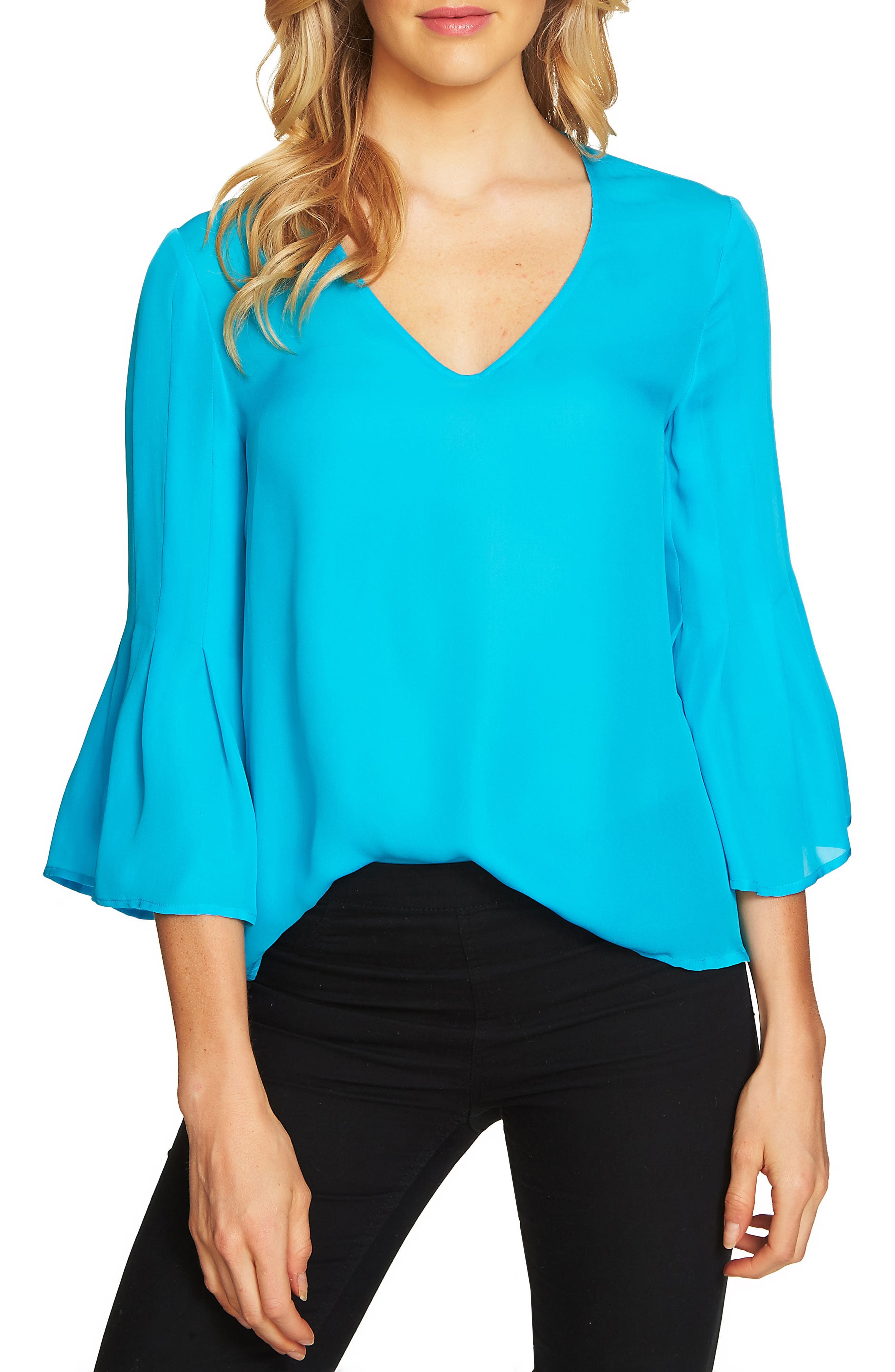 Flare Sleeve Blouse,                         Main,                         color, Blue Morning
