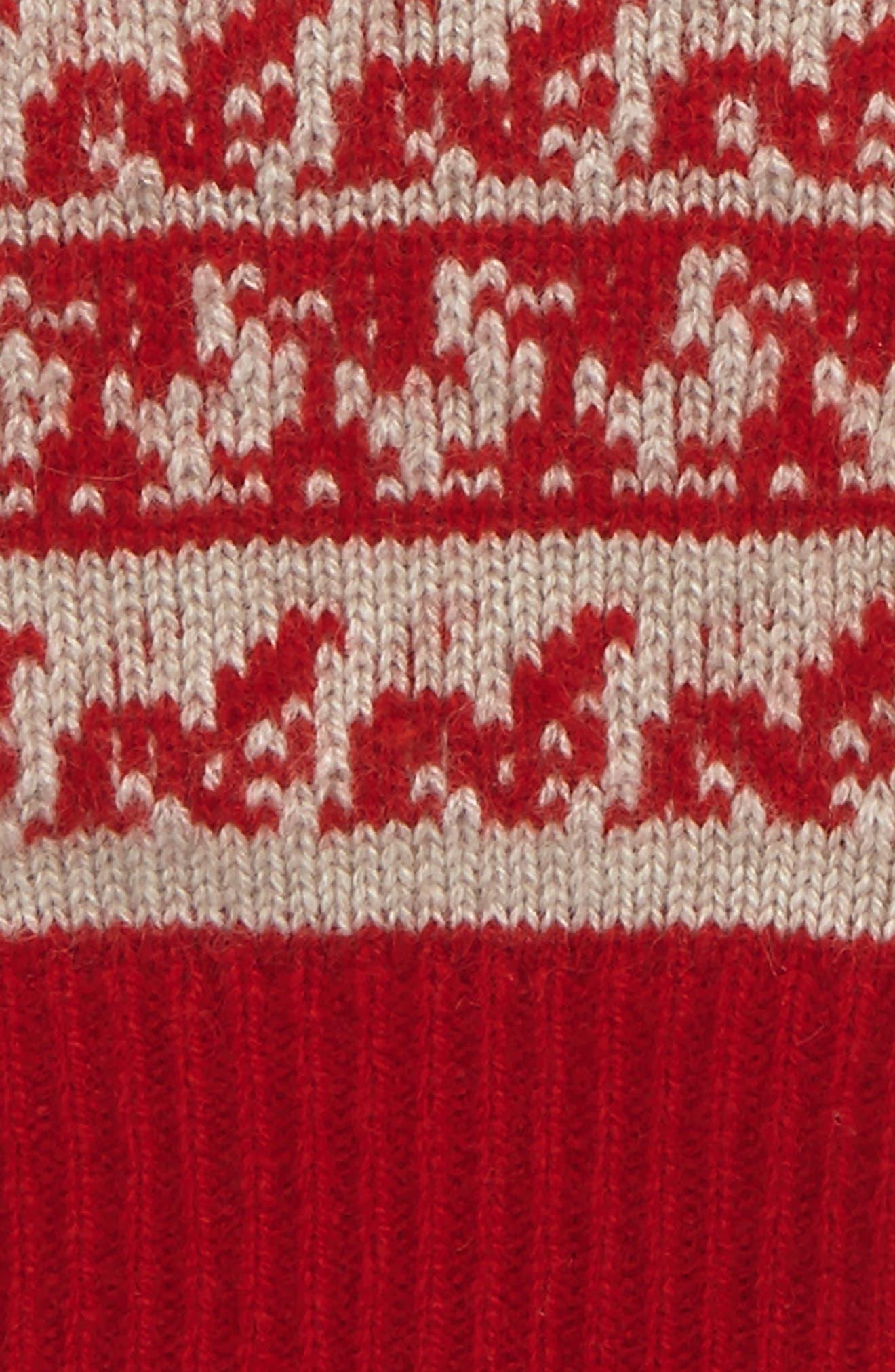 Fair Isle Cashmere & Wool Fingerless Gloves,                             Alternate thumbnail 2, color,                             Military Red