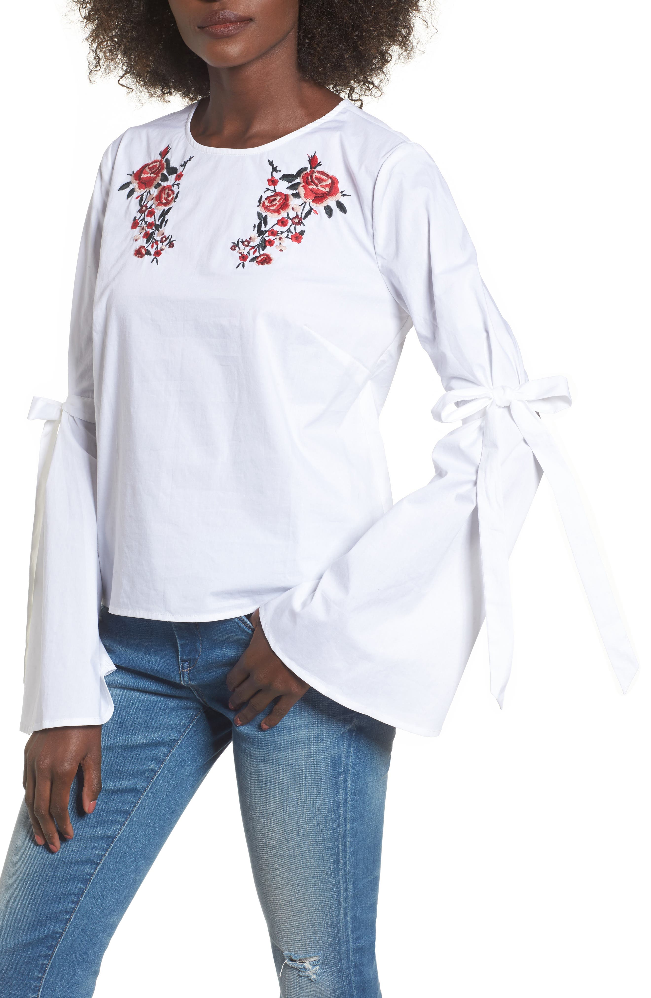 Floral Embroidery Bell Sleeve Top,                         Main,                         color, White