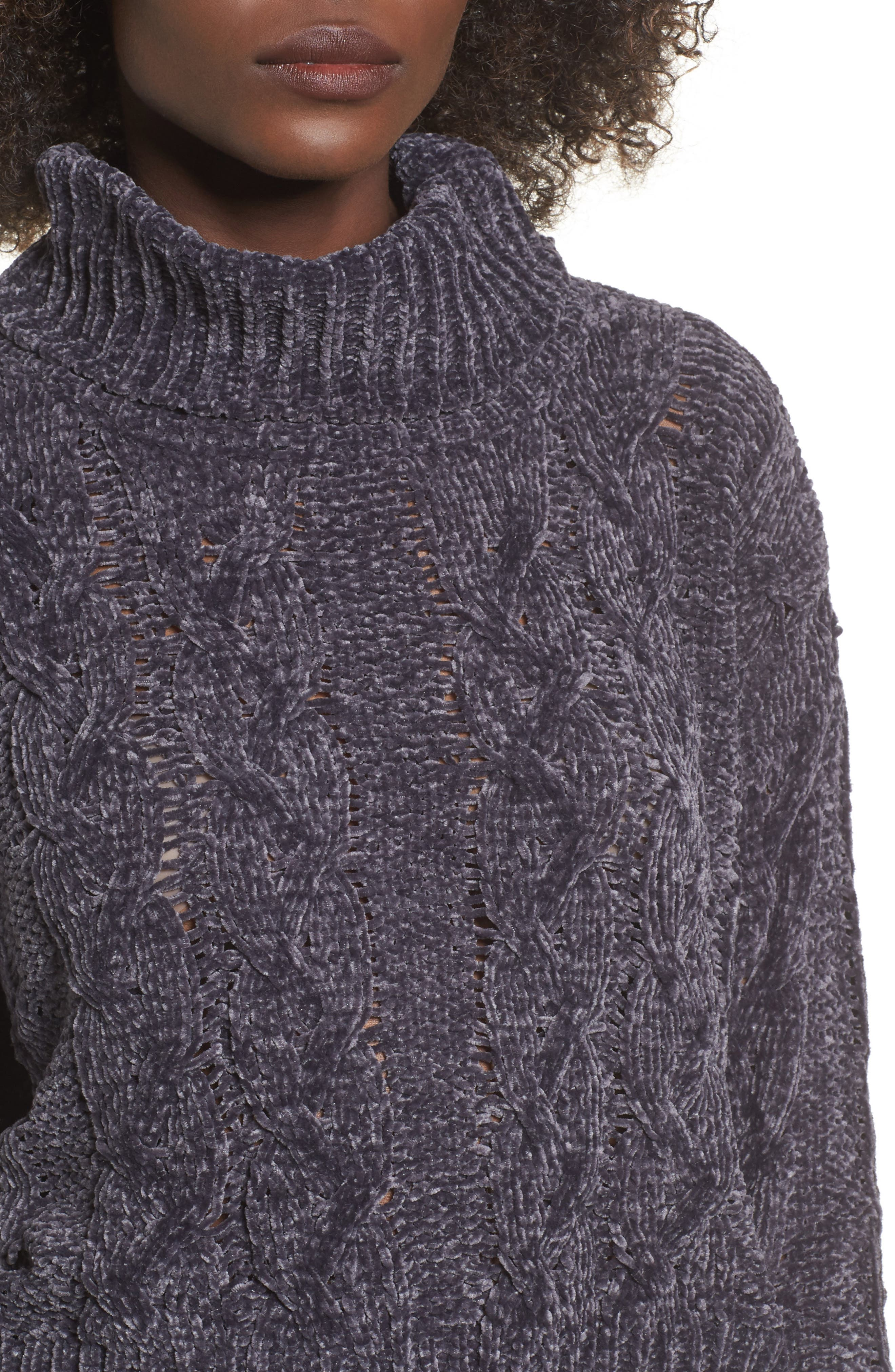 Alternate Image 4  - Woven Heart Chenille Turtleneck Sweater