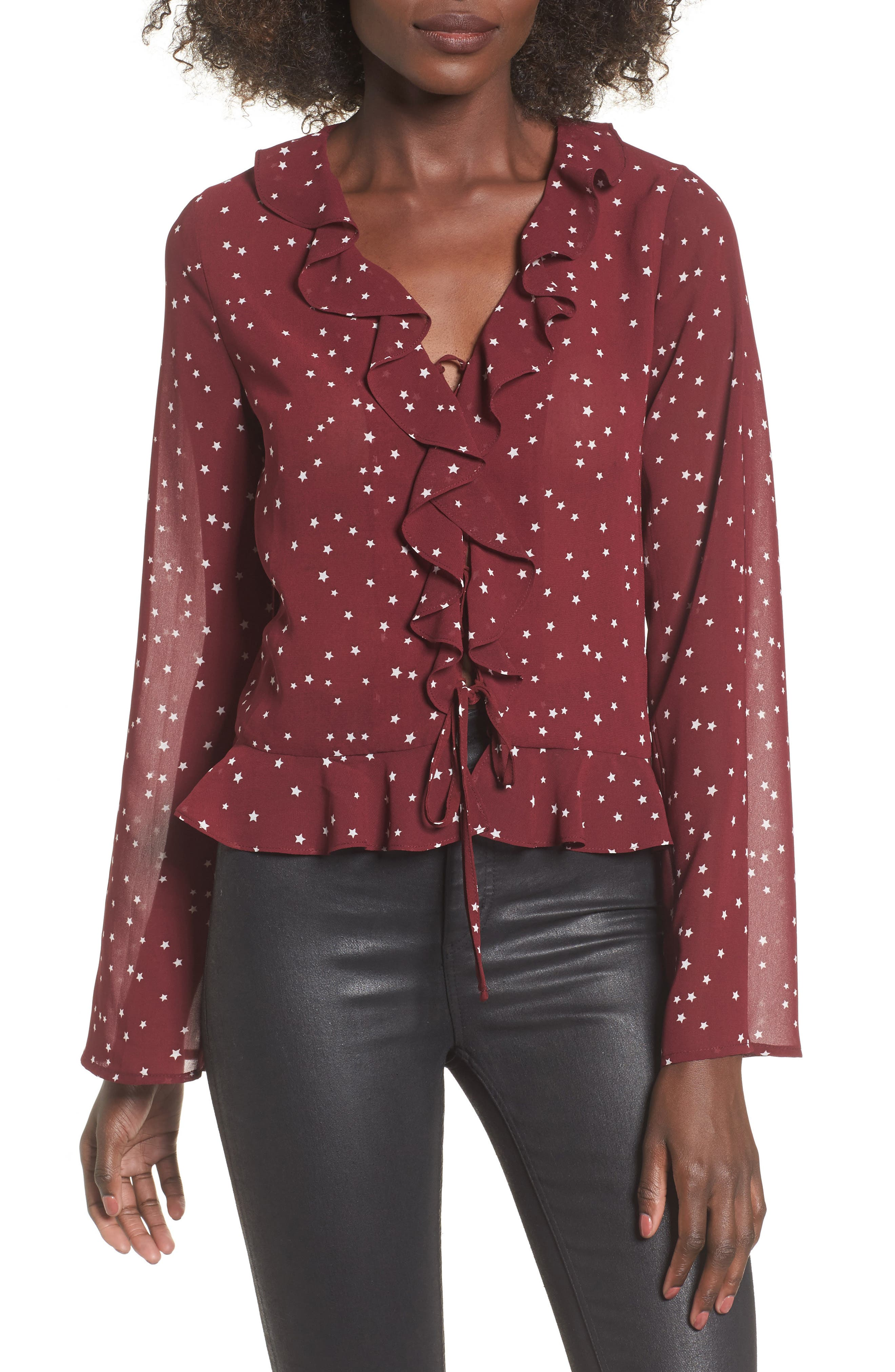 Star Print Ruffle Lace-Up Top,                         Main,                         color, Burgundy Star