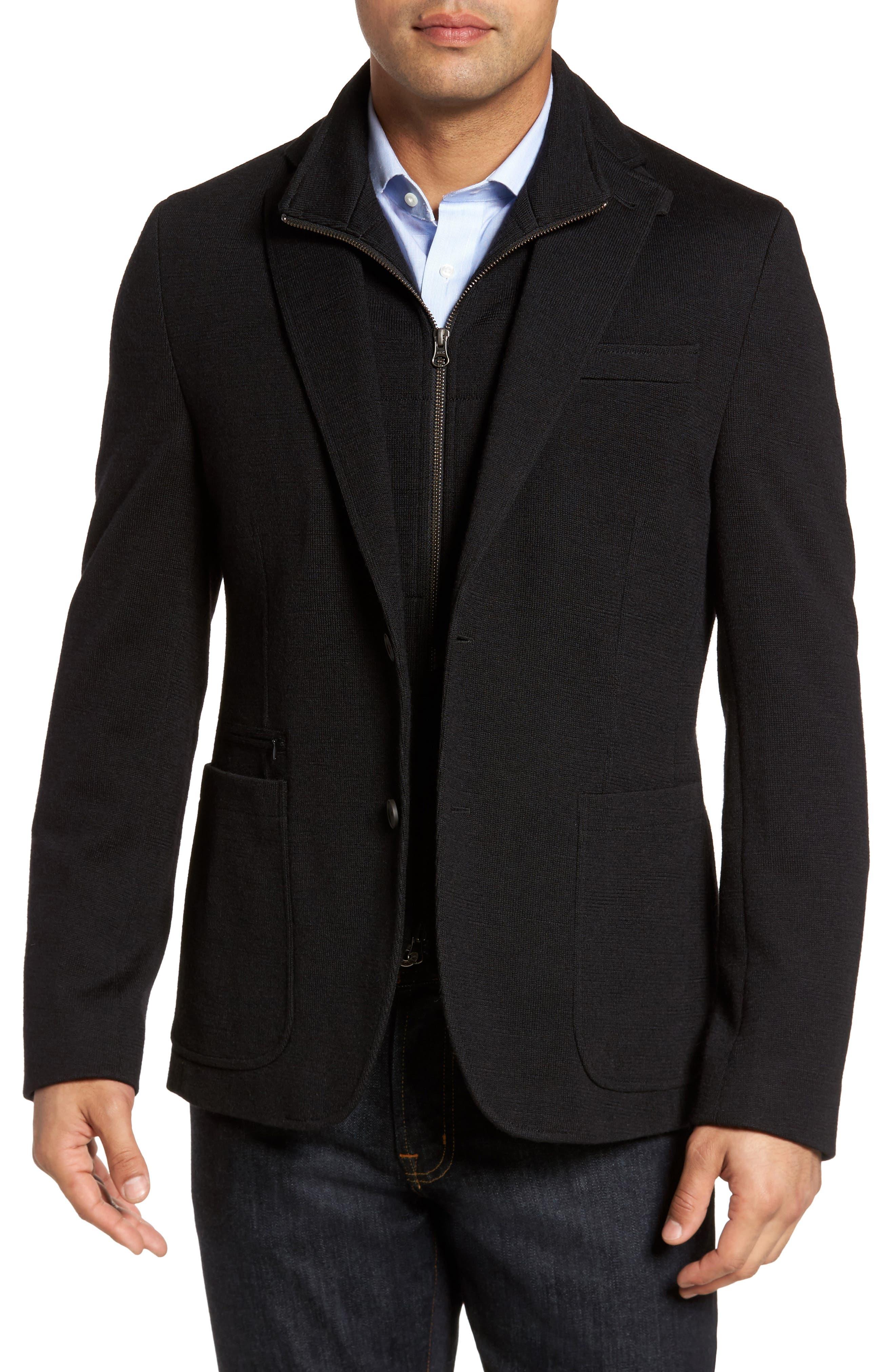 Jones Aim Hybrid Classic Fit Knit Wool Blend Blazer,                         Main,                         color, Black