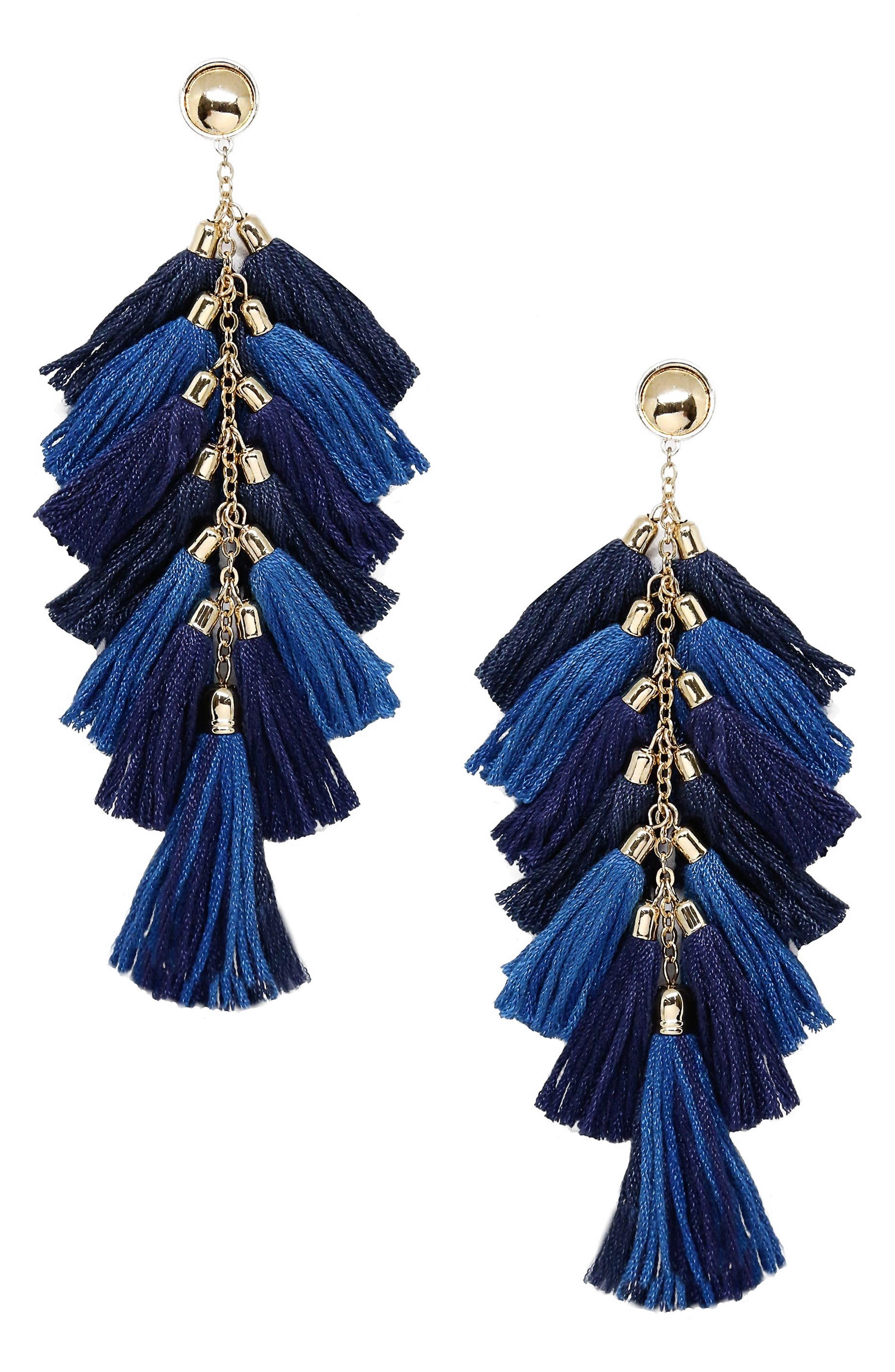 Multi Tassel Statement Earrings,                         Main,                         color, Navy