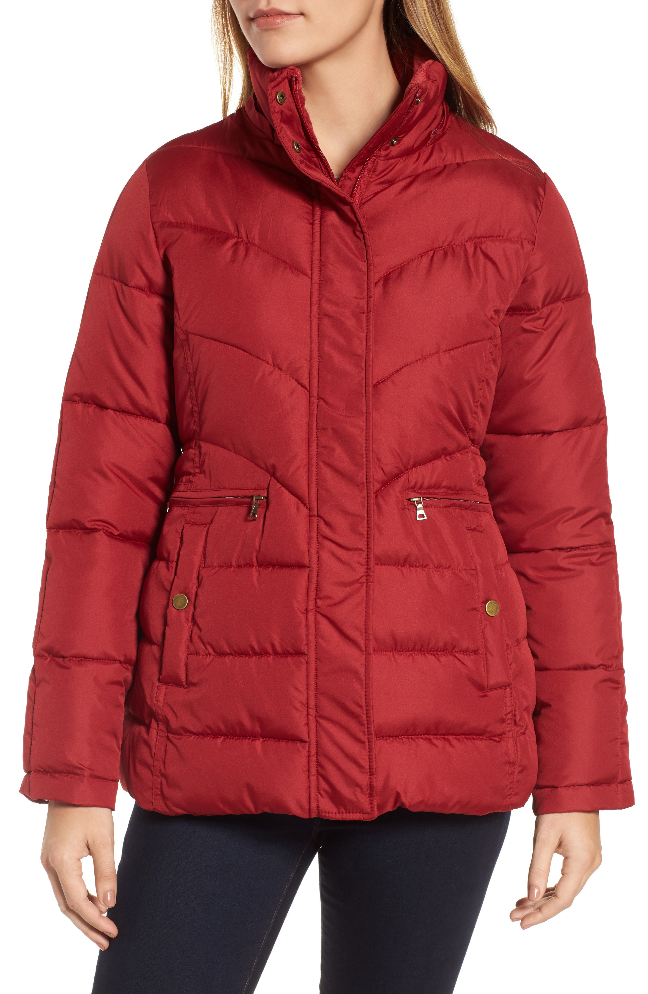 Quilted Coat with Faux Fur Trim,                             Alternate thumbnail 4, color,                             Brick