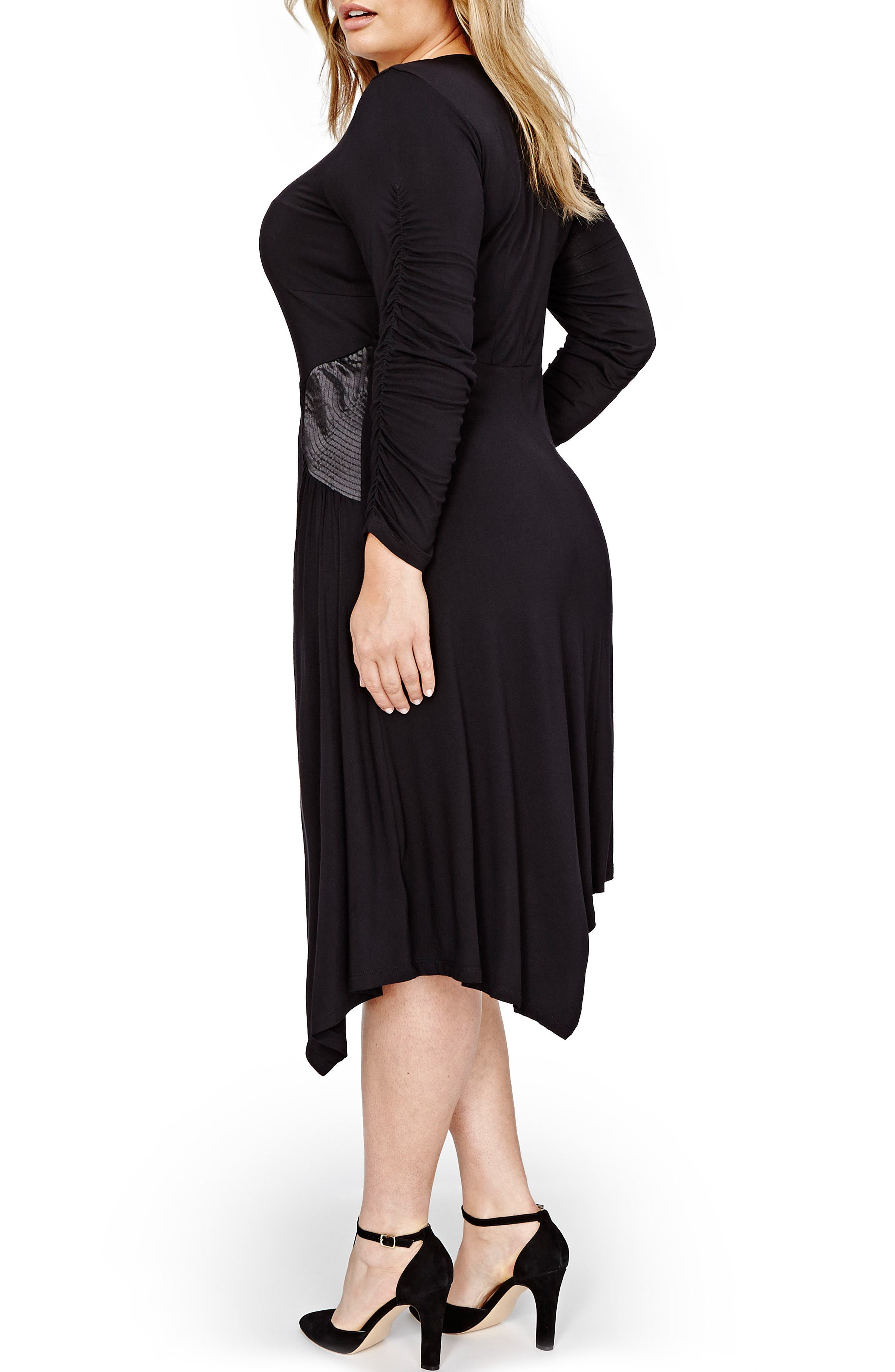 V-Neck Asymmetrical Dress,                             Alternate thumbnail 2, color,                             Black