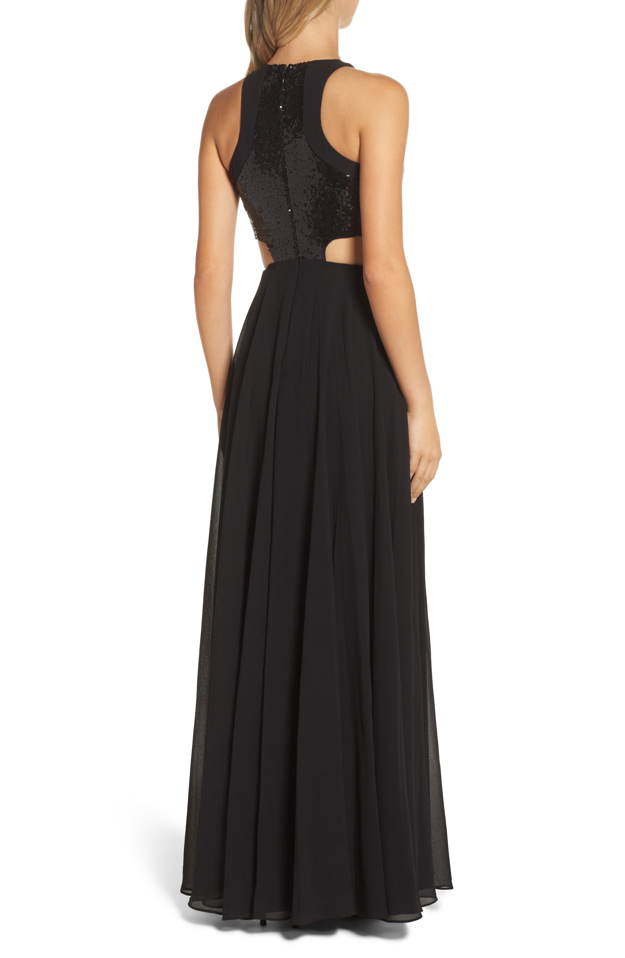 Nothing but Love Sequin Bodice Maxi Dress,                             Alternate thumbnail 2, color,                             Black