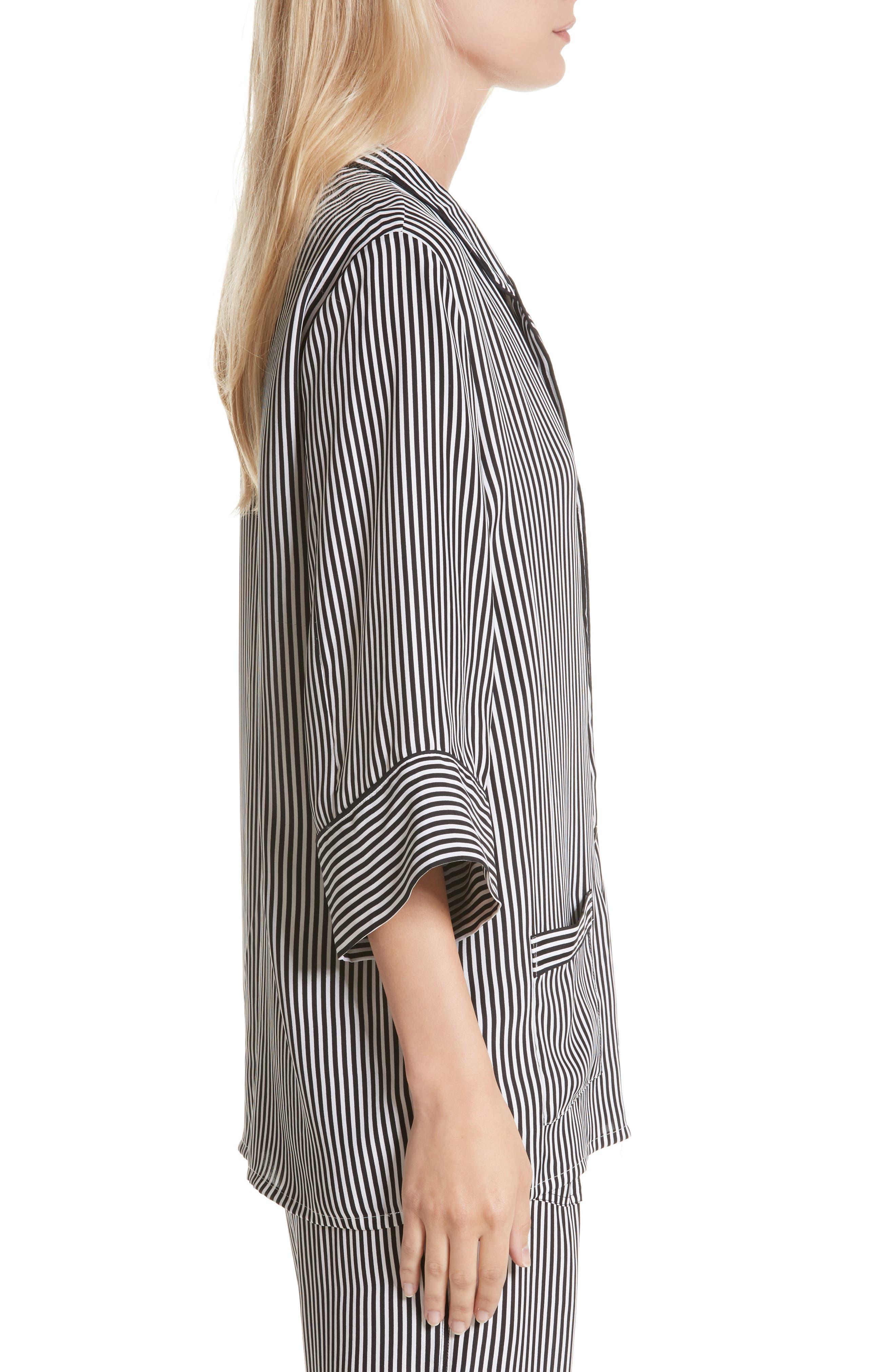 Alternate Image 4  - THE GREAT. Pencil Stripe Silk Sleeper Shirt