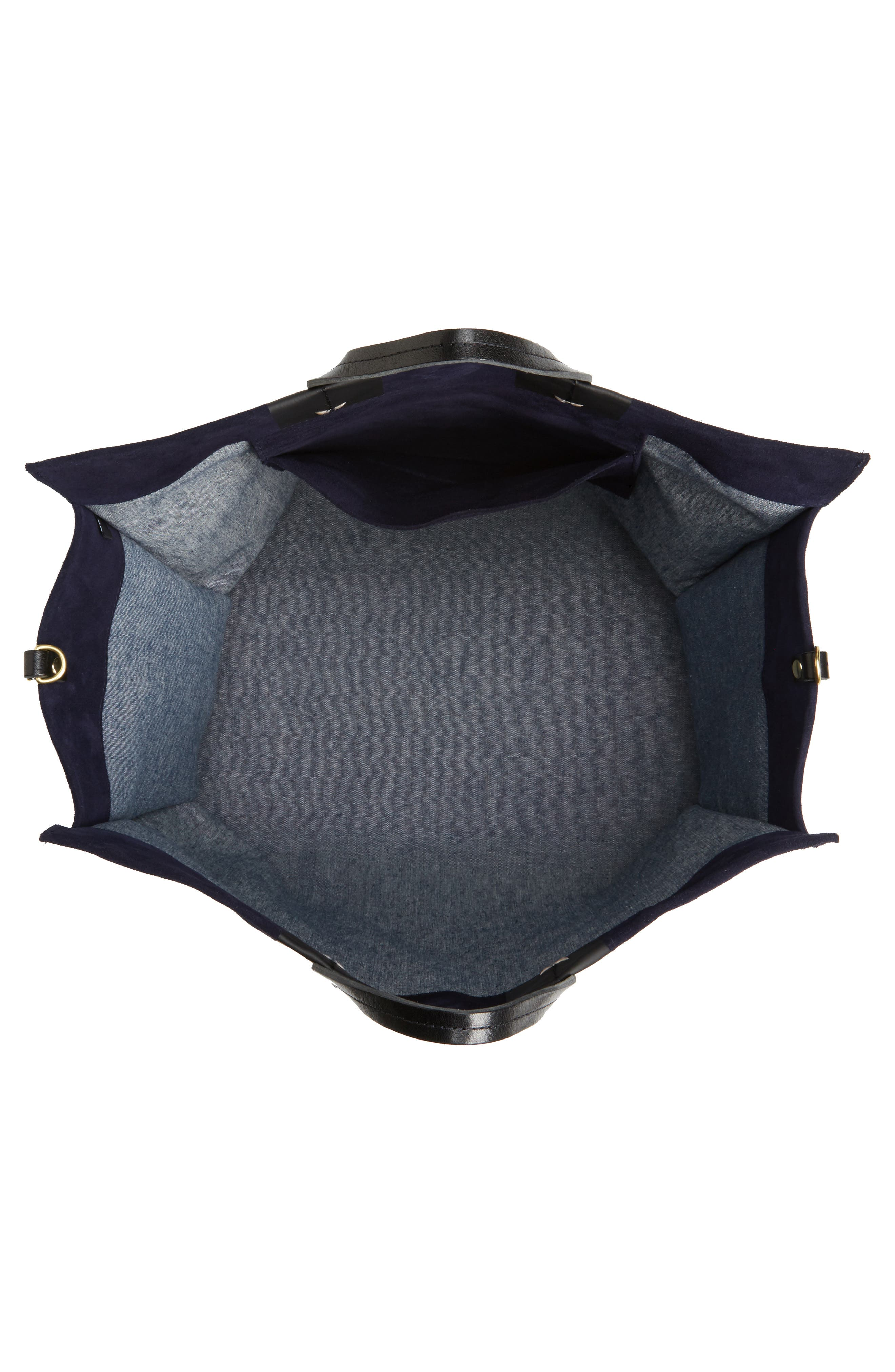 Simple Leather Tote,                             Alternate thumbnail 4, color,                             Navy Suede