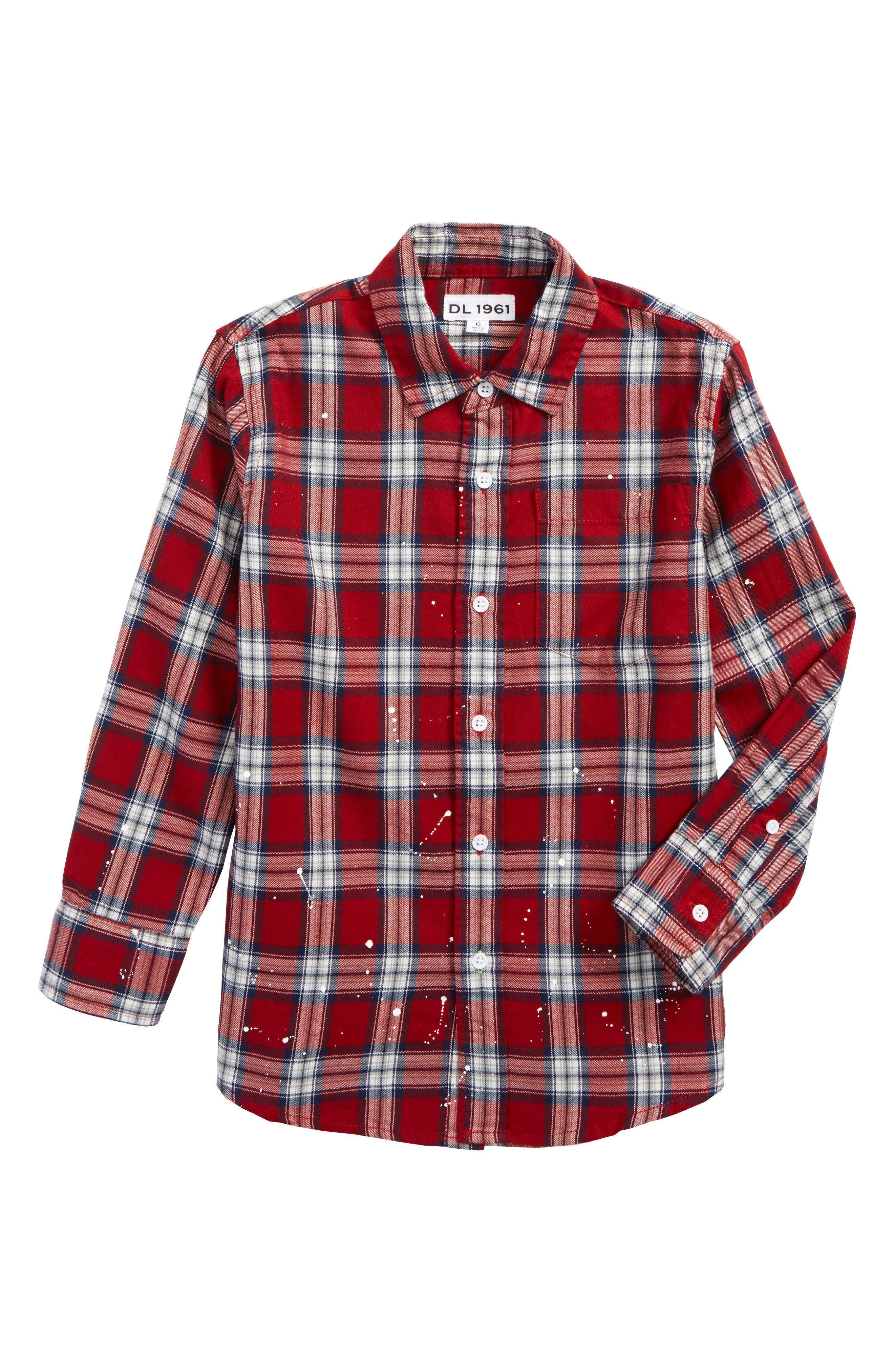 Splattered Plaid Woven Shirt,                         Main,                         color, Red Plaid Paint Splatters