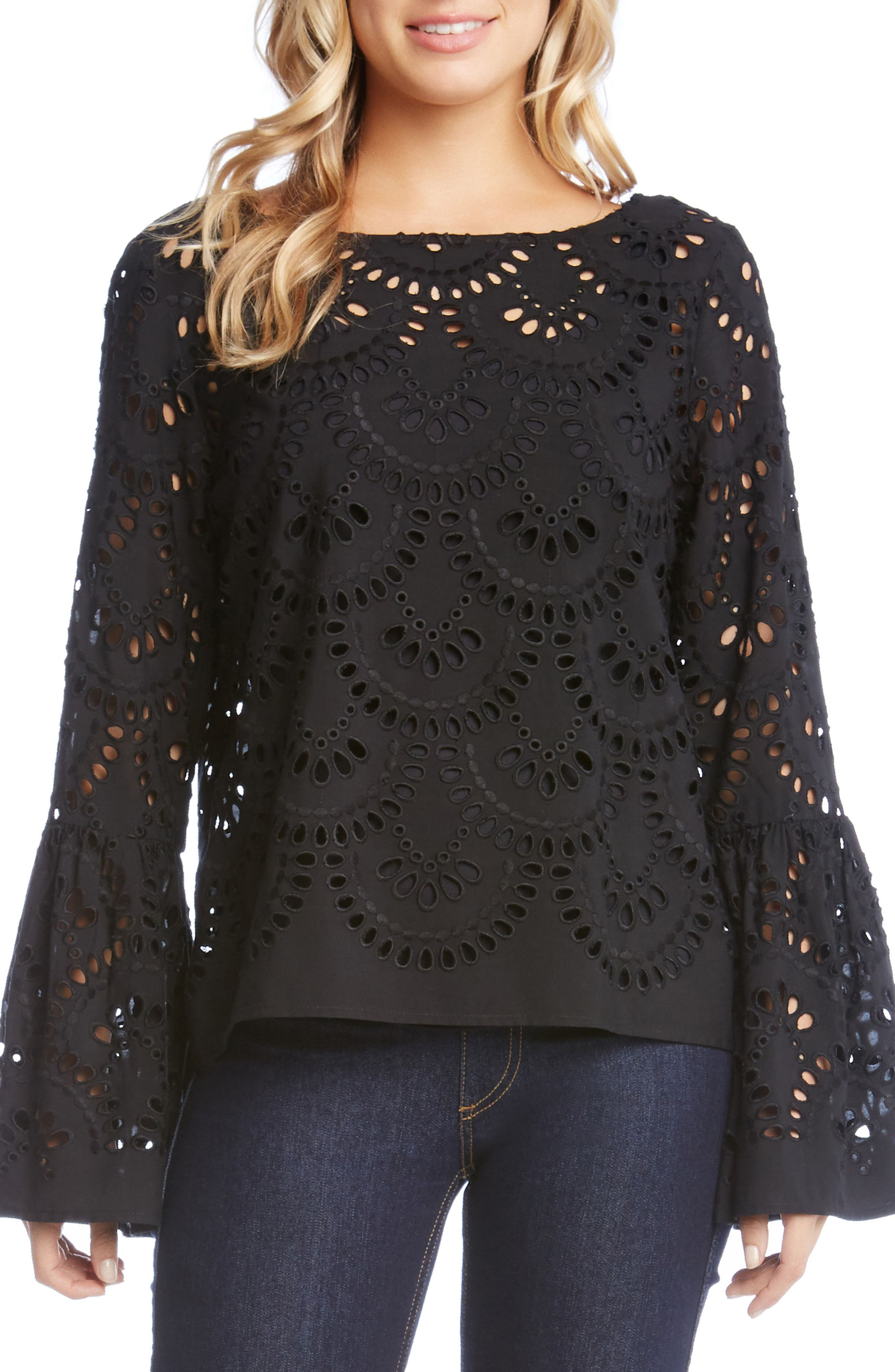 Eyelet Bell Sleeve Top,                         Main,                         color, Black