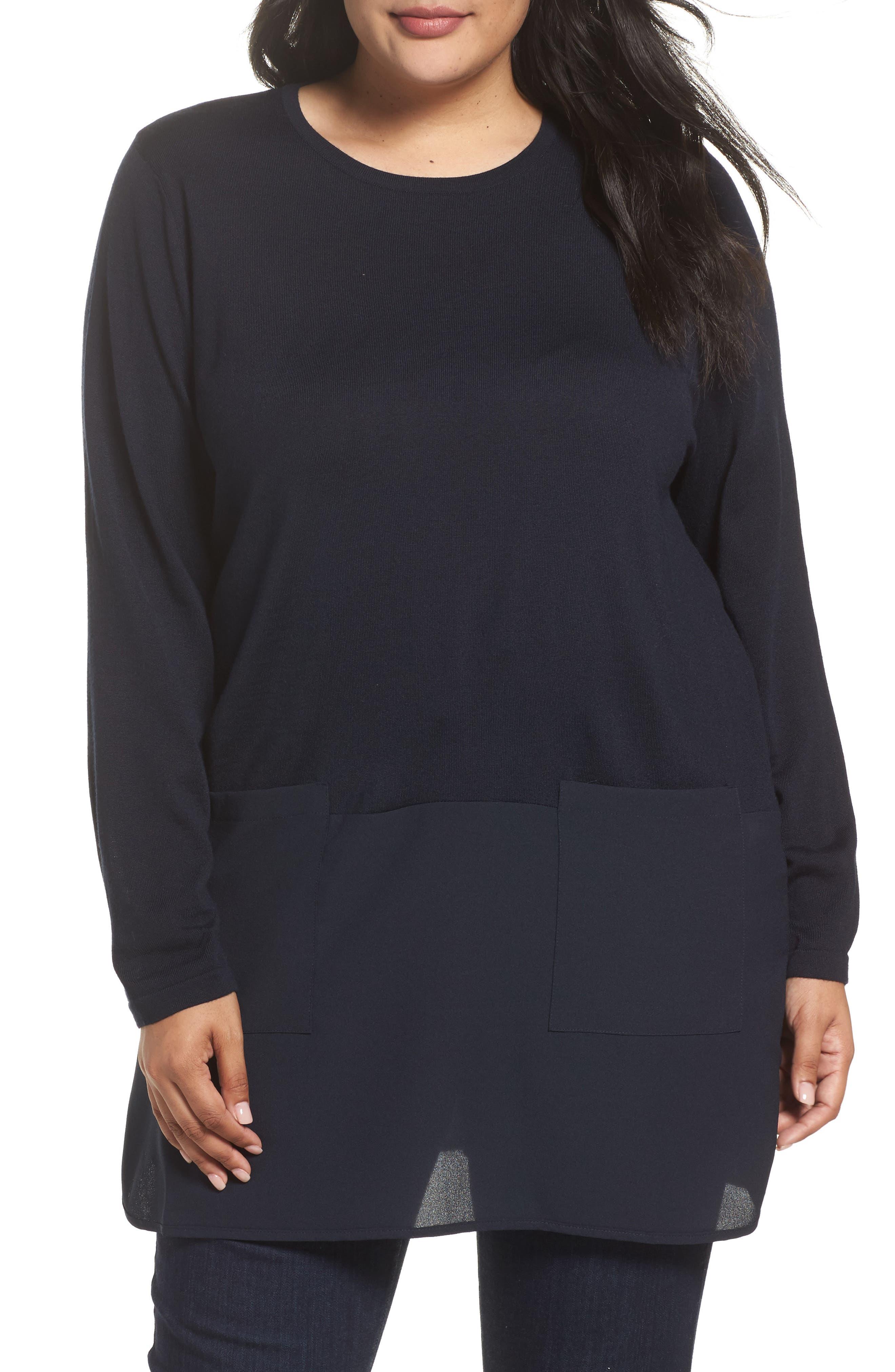 Adamo MIxed Media Sweater,                         Main,                         color, Dark Navy