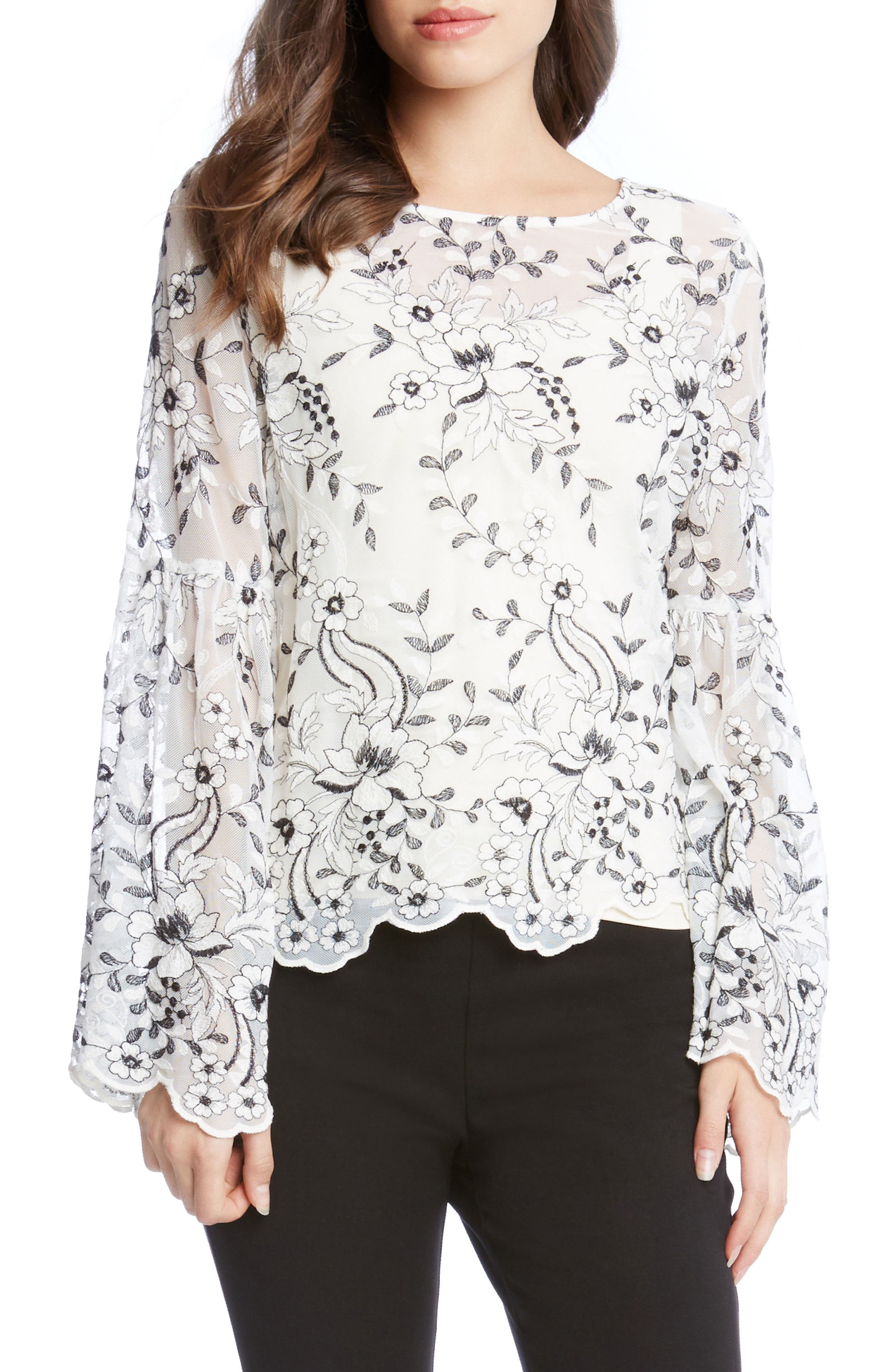 Embroidered Bell Sleeve Blouse,                             Main thumbnail 1, color,                             Cream W/ Black