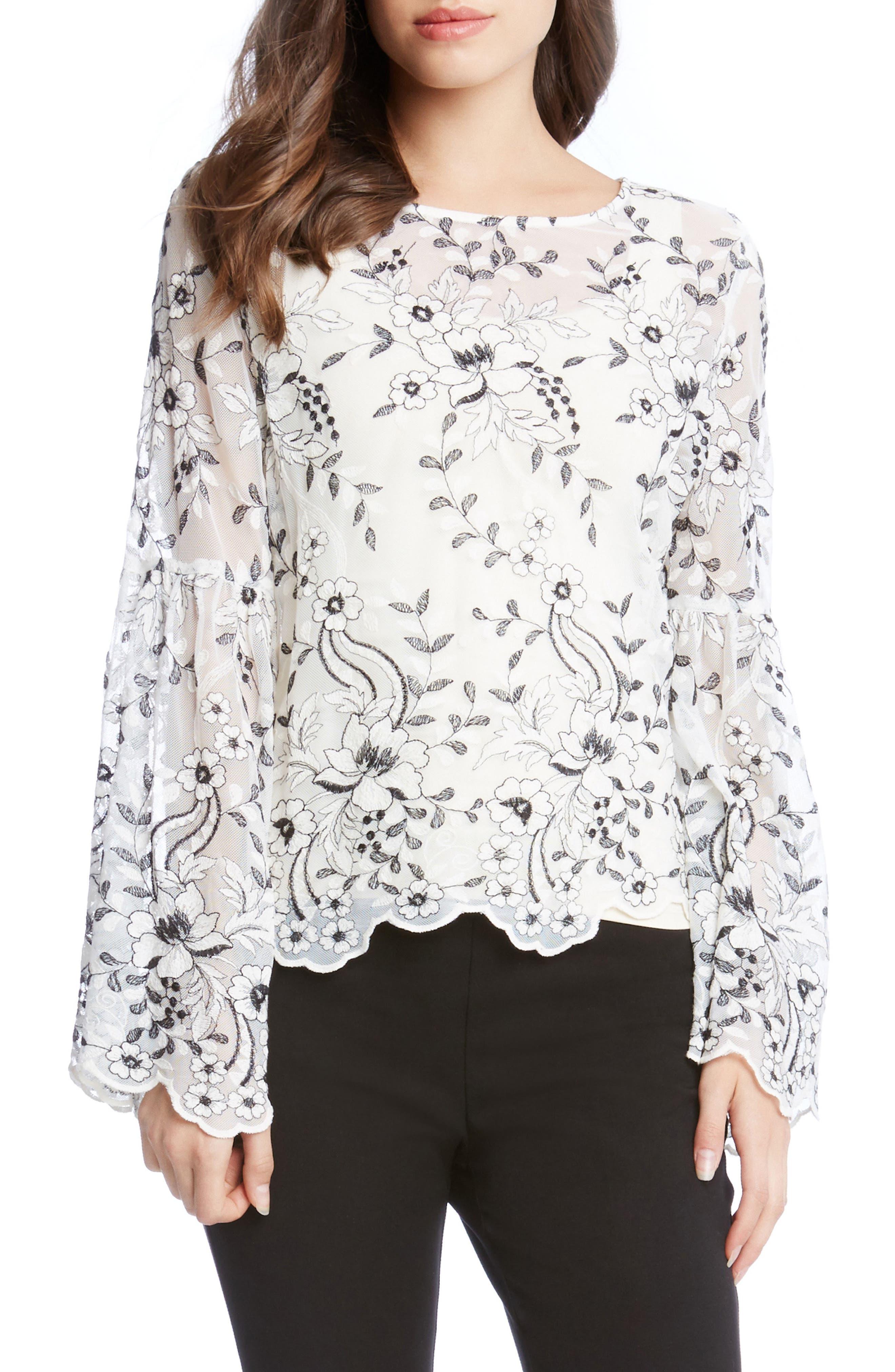 Alternate Image 1 Selected - Karen Kane Embroidered Bell Sleeve Blouse