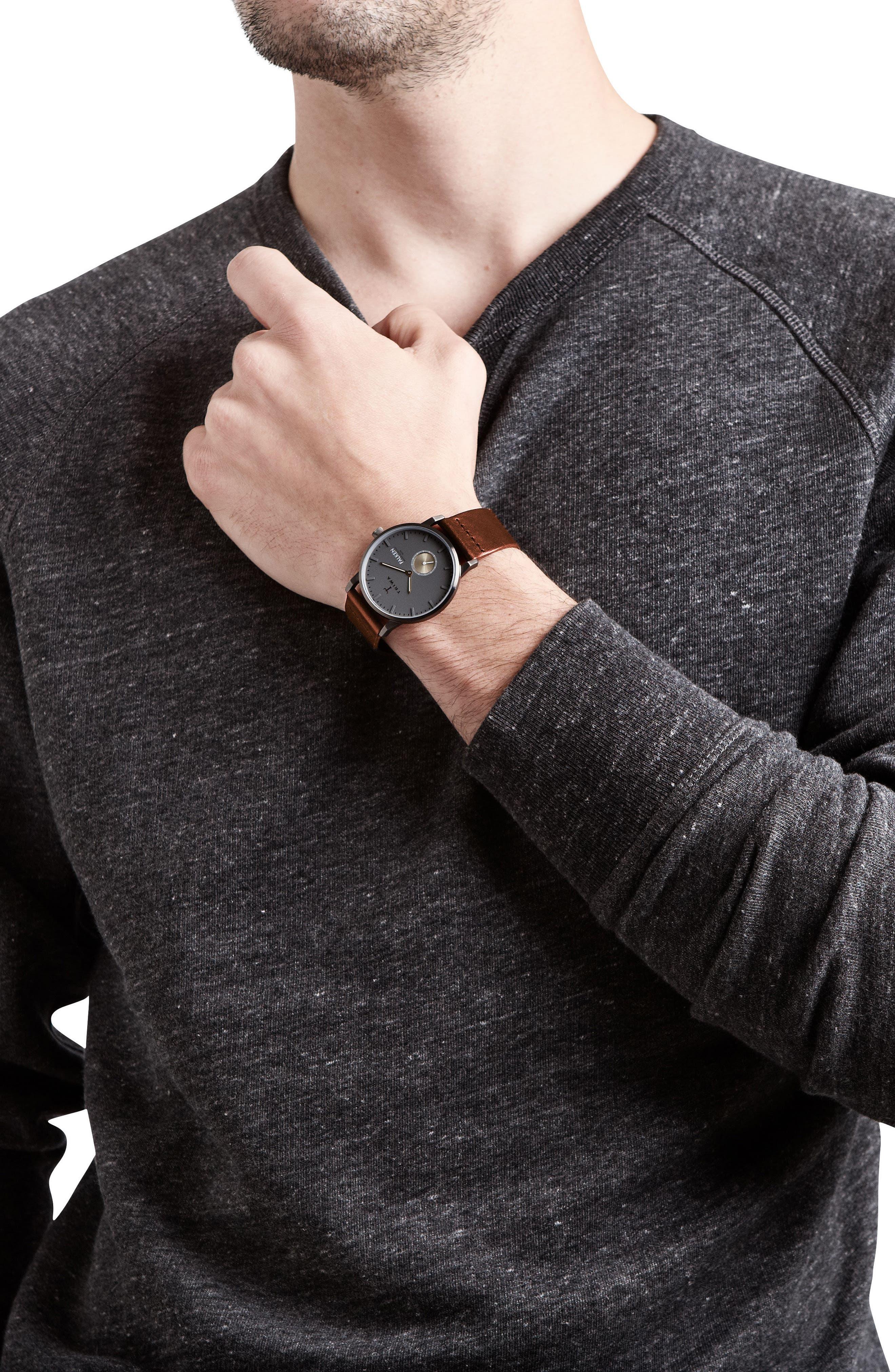 Walter Falken Organic Leather Strap Watch, 38mm,                             Alternate thumbnail 2, color,                             Cognac/ Gunmetal/ Gunmetal