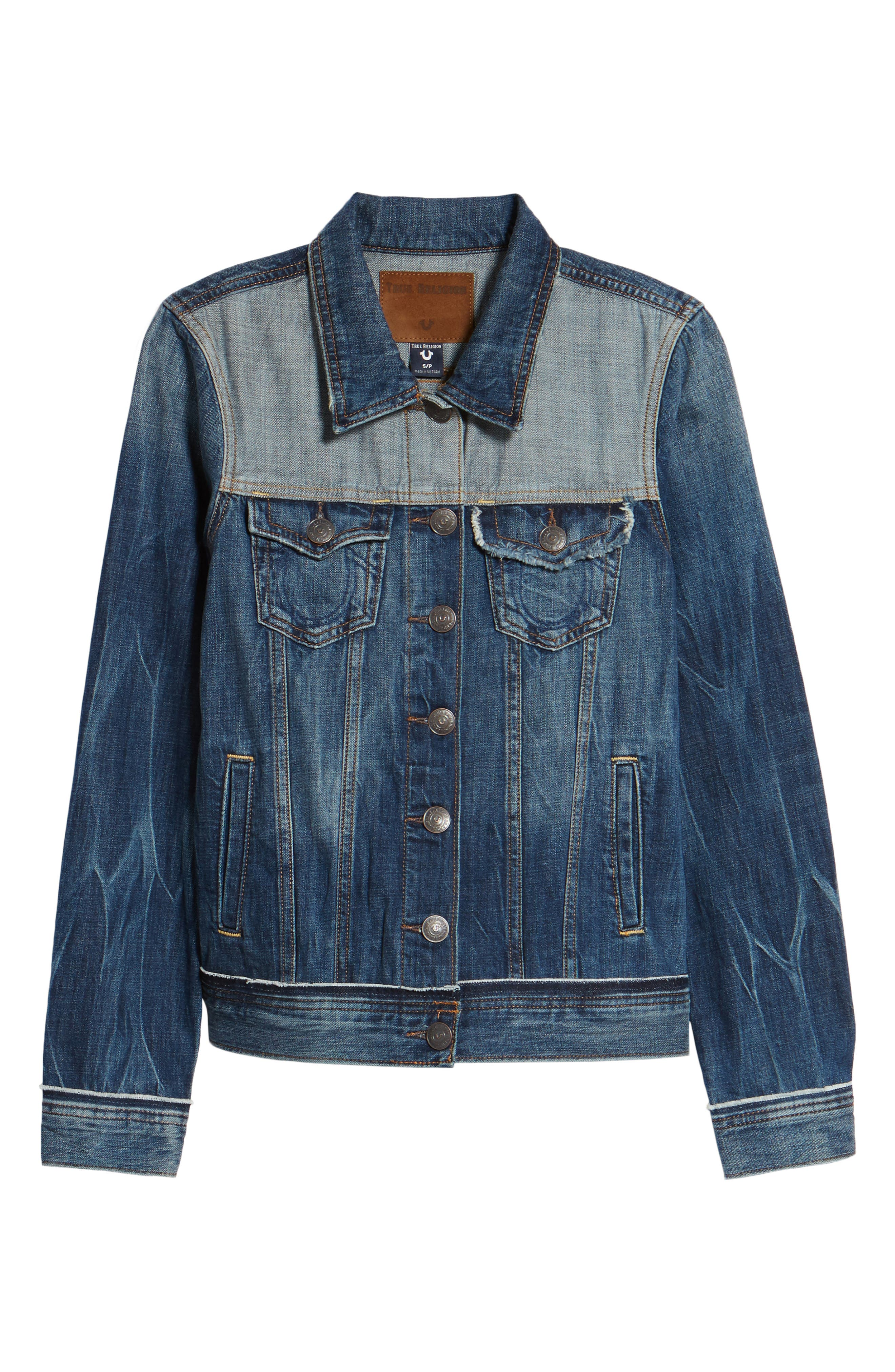 Let Out Seams Denim Jacket,                             Alternate thumbnail 6, color,                             Broken Record