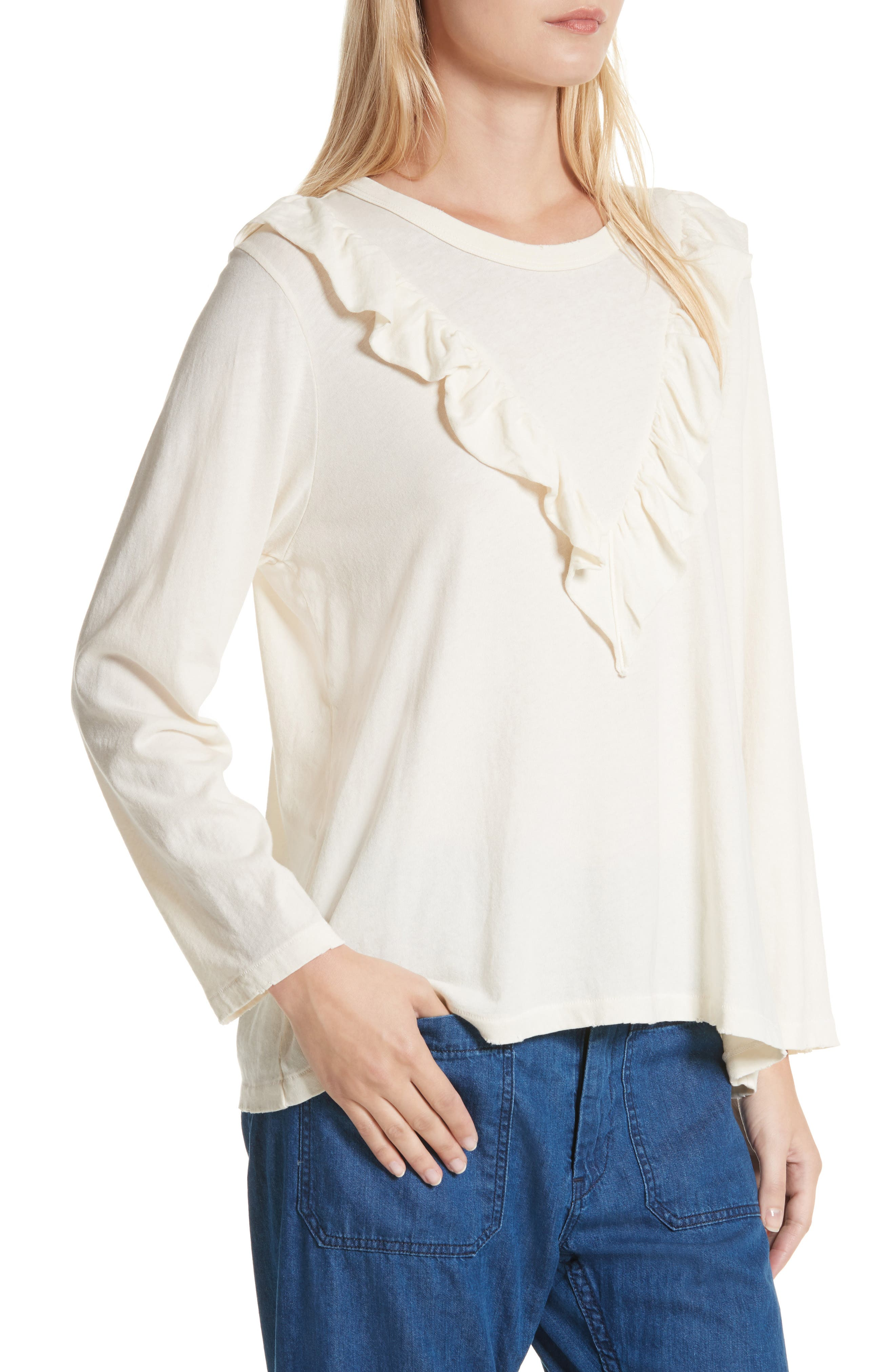 The Tuxedo Ruffle Tee,                             Alternate thumbnail 5, color,                             Washed White