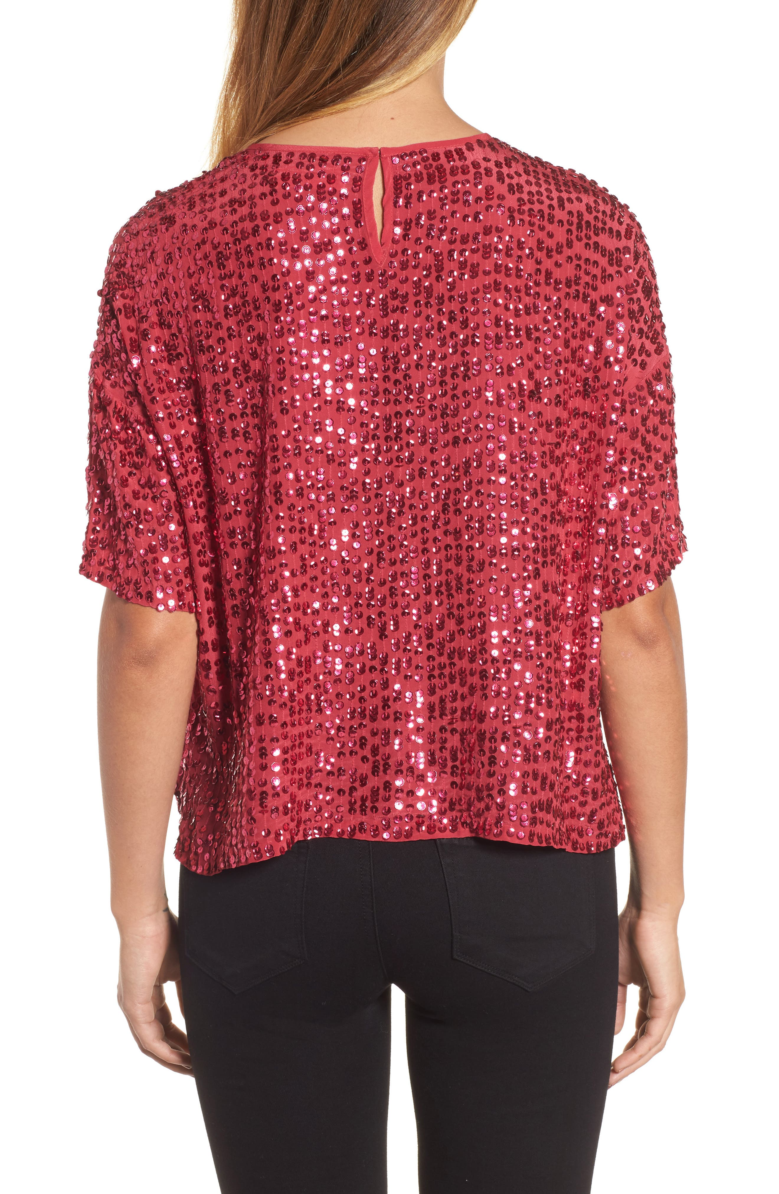 Short Sleeve Sequin Top,                             Alternate thumbnail 2, color,                             Hot Pink
