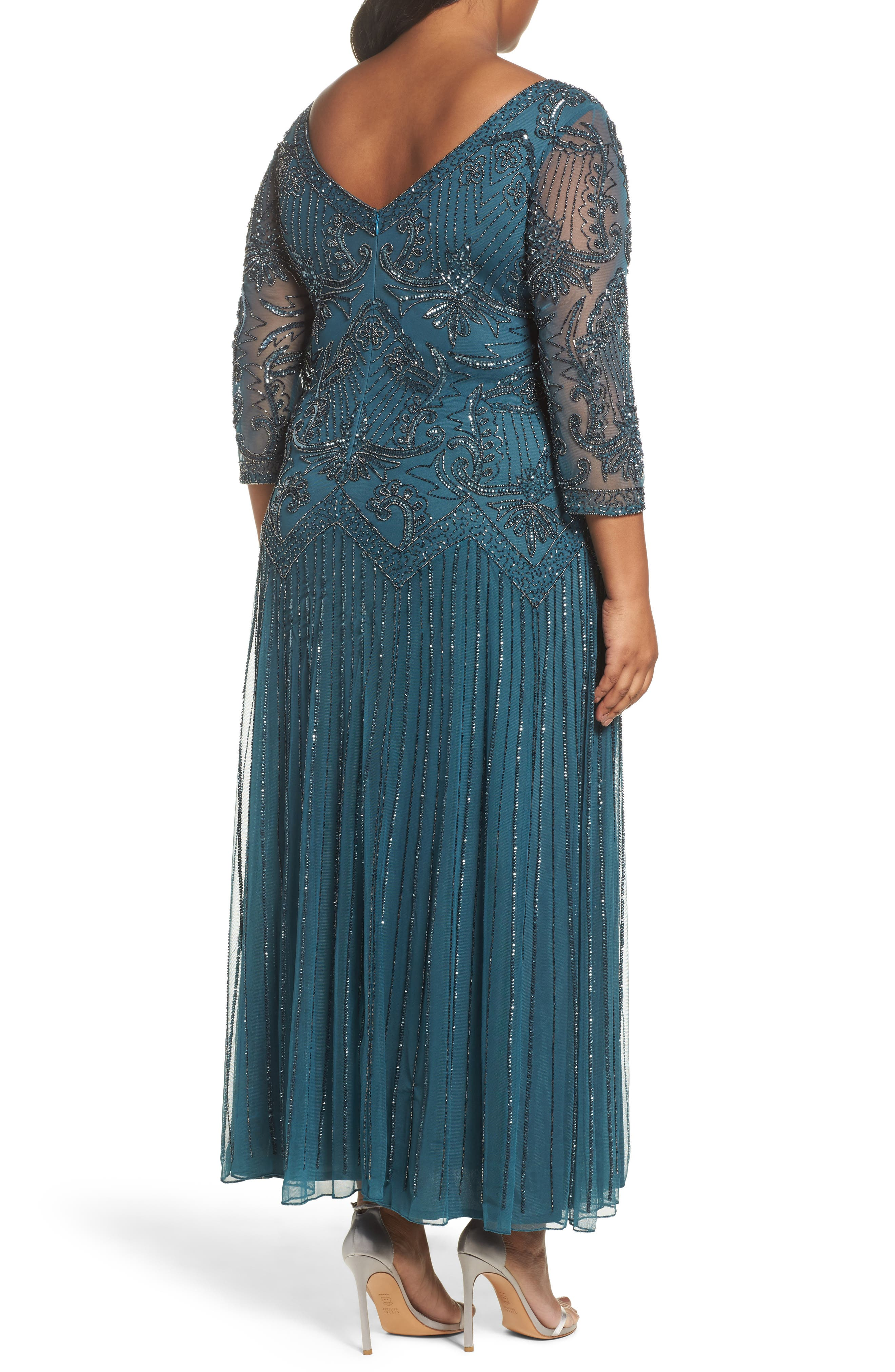 Alternate Image 2  - Pisarro Nights Embellished Double V-Neck Long Dress (Plus Size)