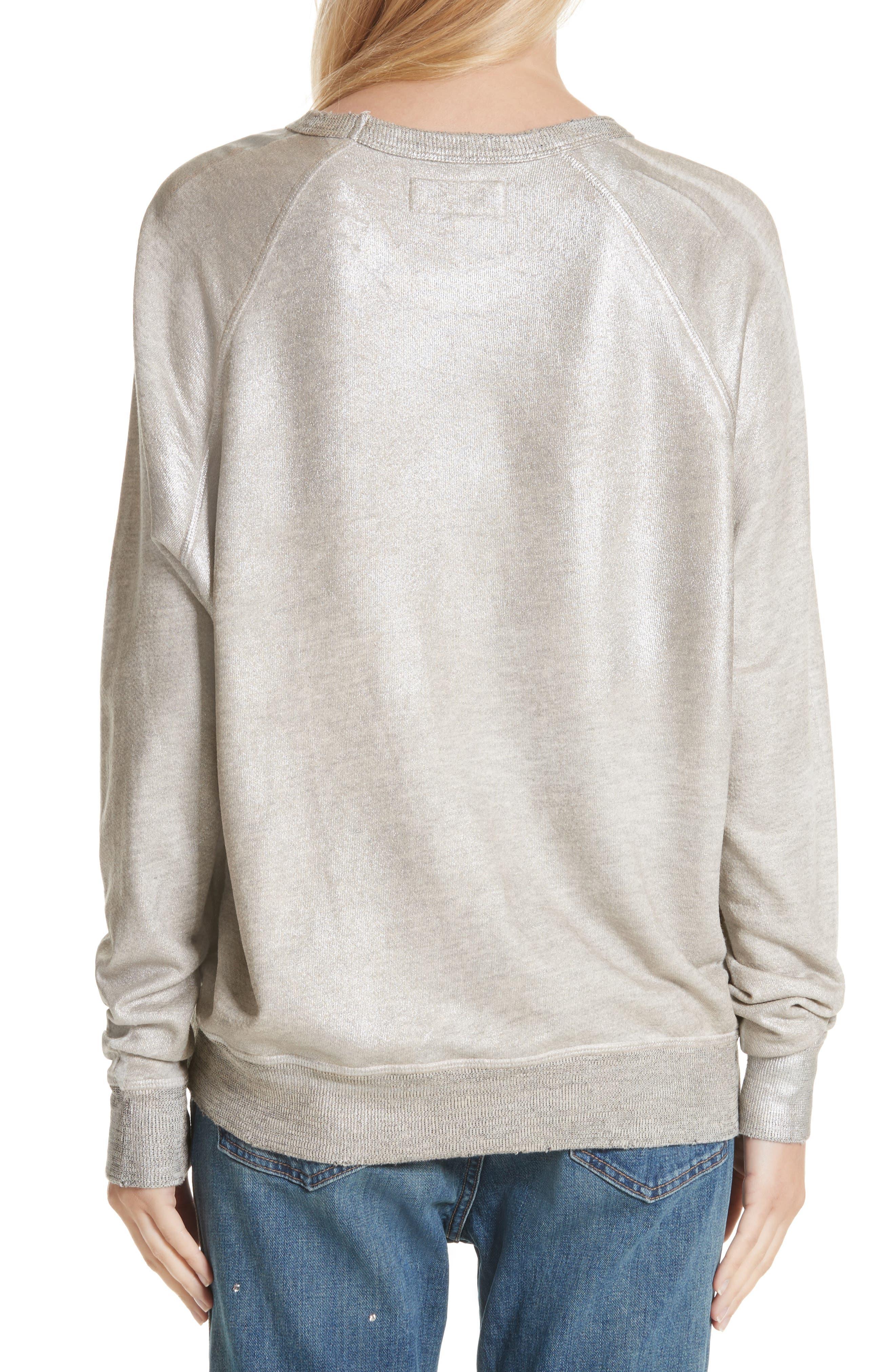The College Metallic Foil Sweatshirt,                             Alternate thumbnail 3, color,                             Heather Grey