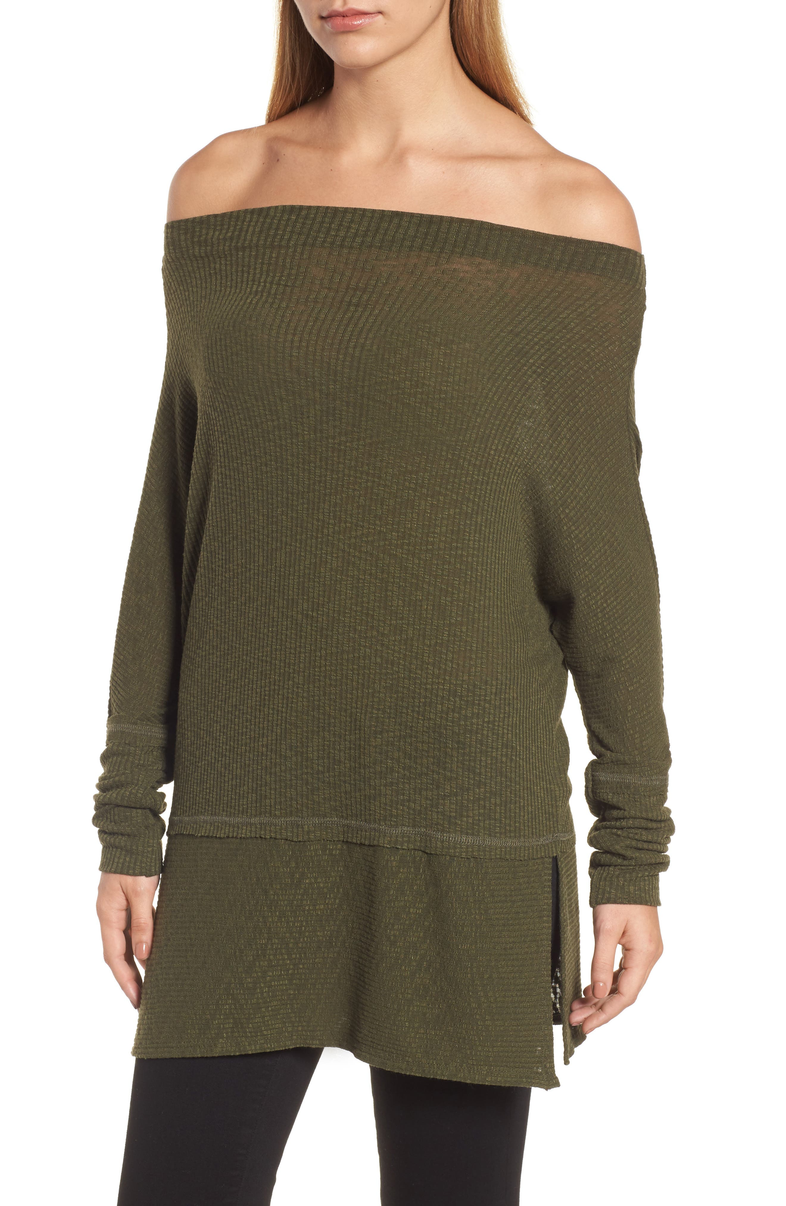 Convertible Wide Neck Top,                             Alternate thumbnail 5, color,                             Olive
